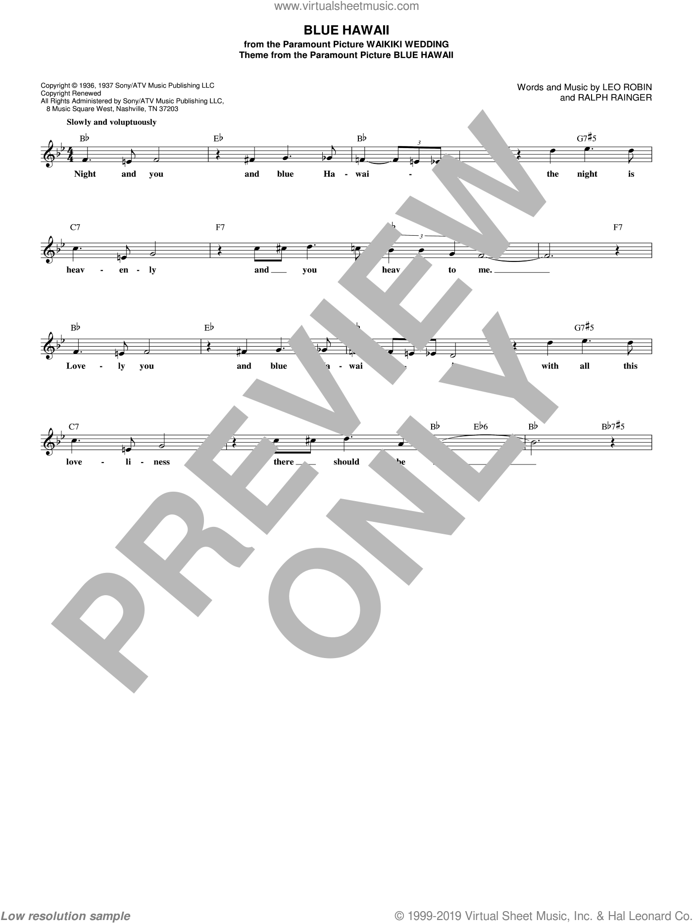 Blue Hawaii sheet music for voice and other instruments (fake book) by Elvis Presley, Billy Vaughn, Leo Robin and Ralph Rainger, intermediate skill level