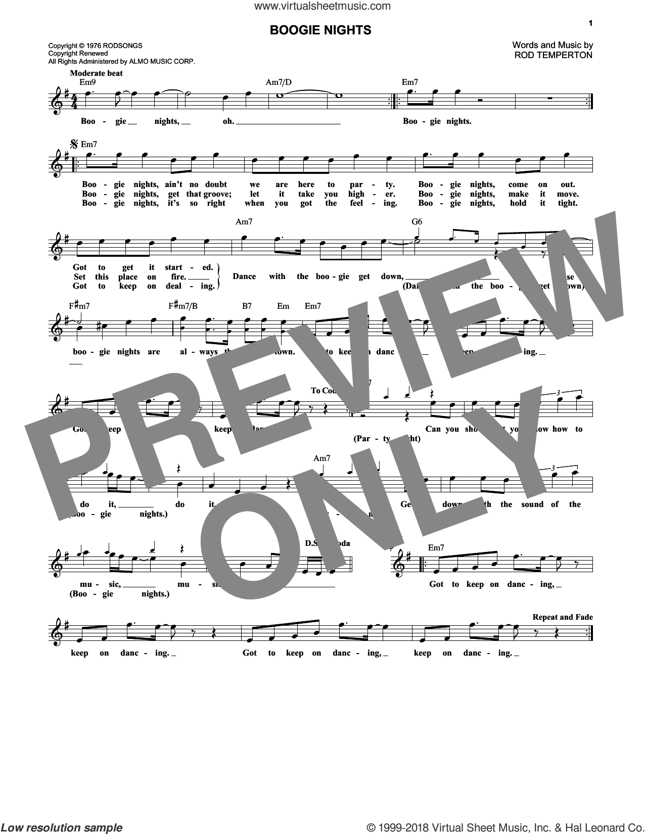 Boogie Nights sheet music for voice and other instruments (fake book) by Heatwave and Rod Temperton, intermediate skill level