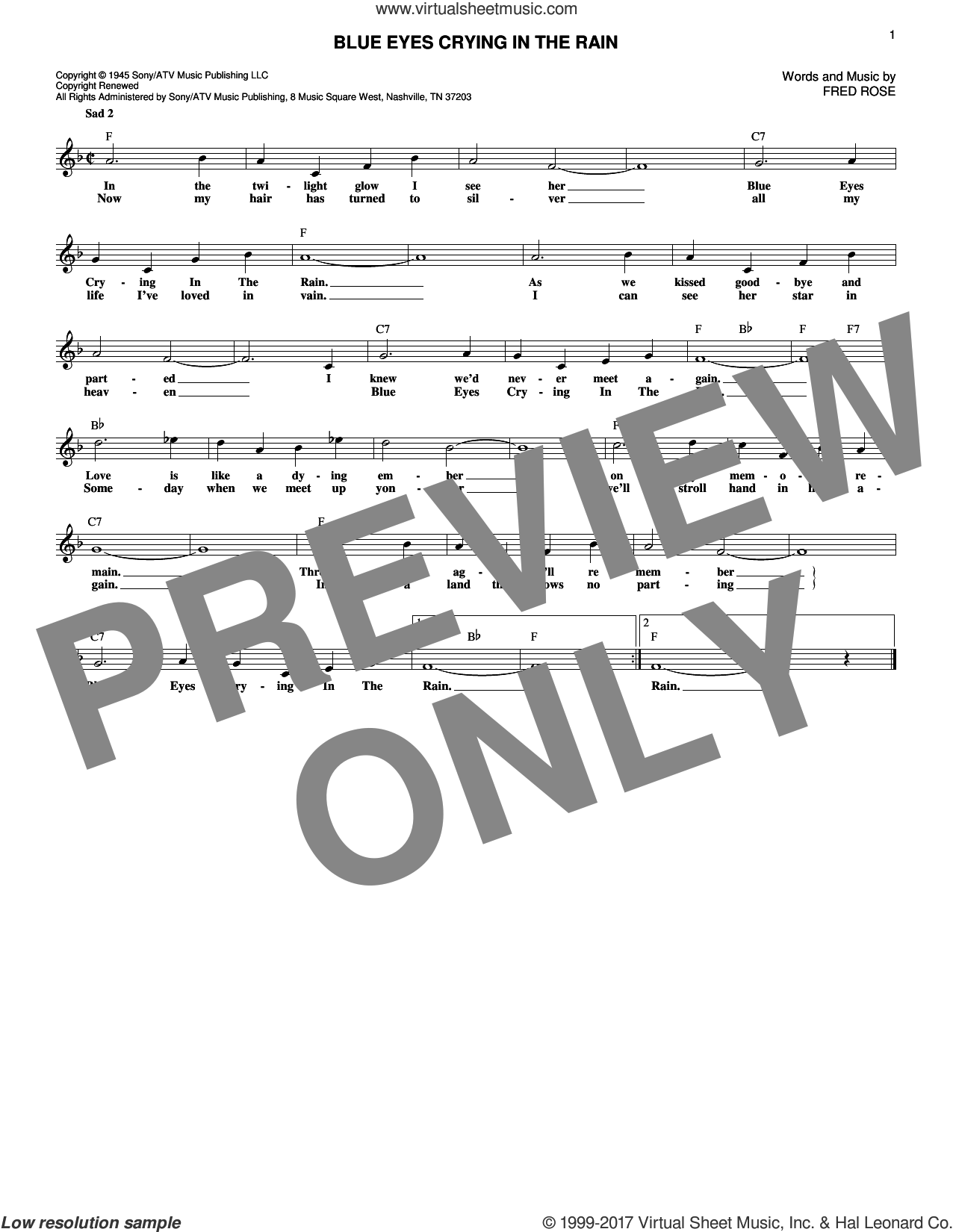 Blue Eyes Crying In The Rain sheet music for voice and other instruments (fake book) by Willie Nelson, Elvis Presley and Fred Rose. Score Image Preview.