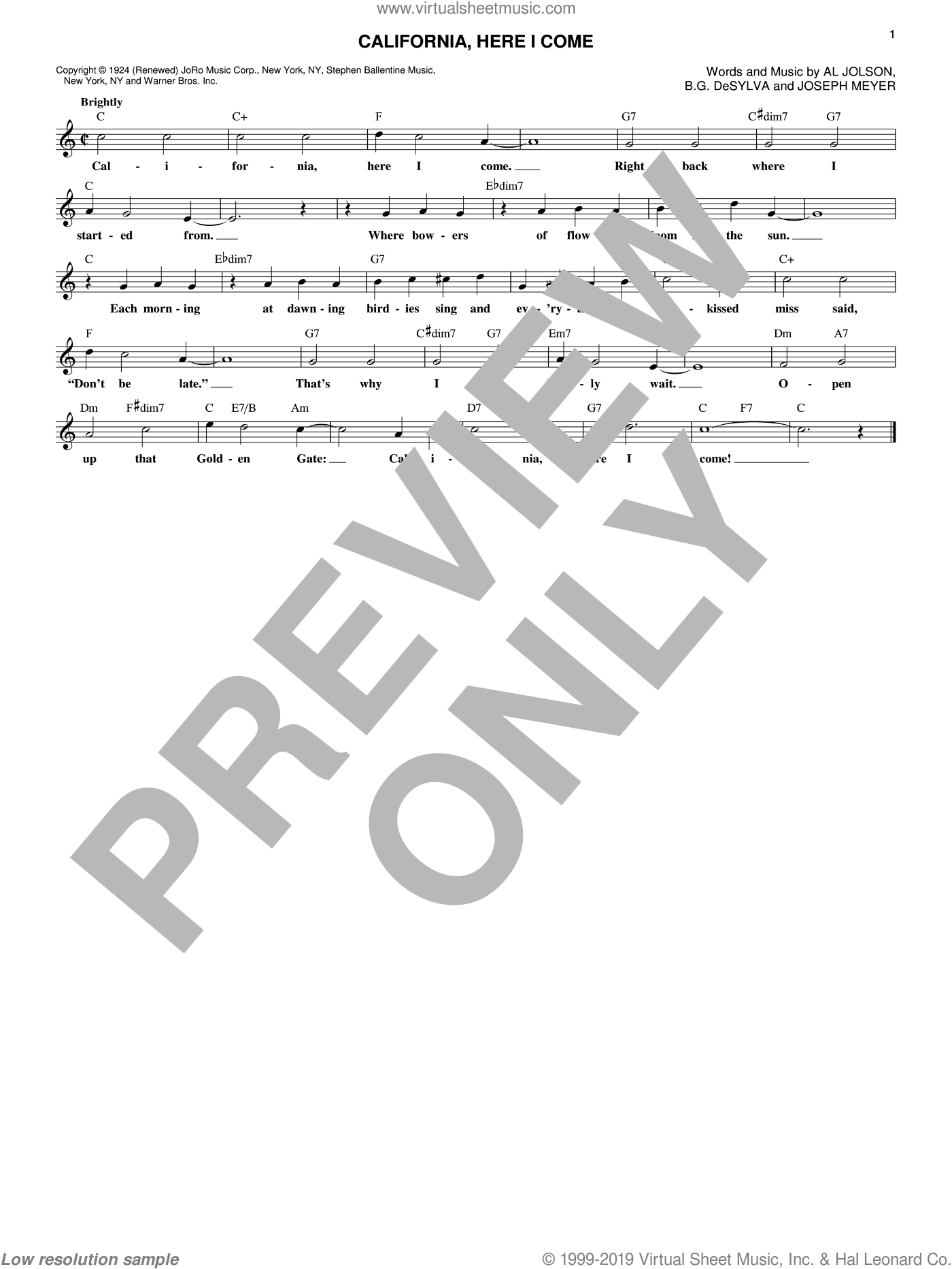 California, Here I Come sheet music for voice and other instruments (fake book) by Buddy DeSylva, Benny Goodman & His Orchestra, Al Jolson and Joseph Meyer, intermediate skill level