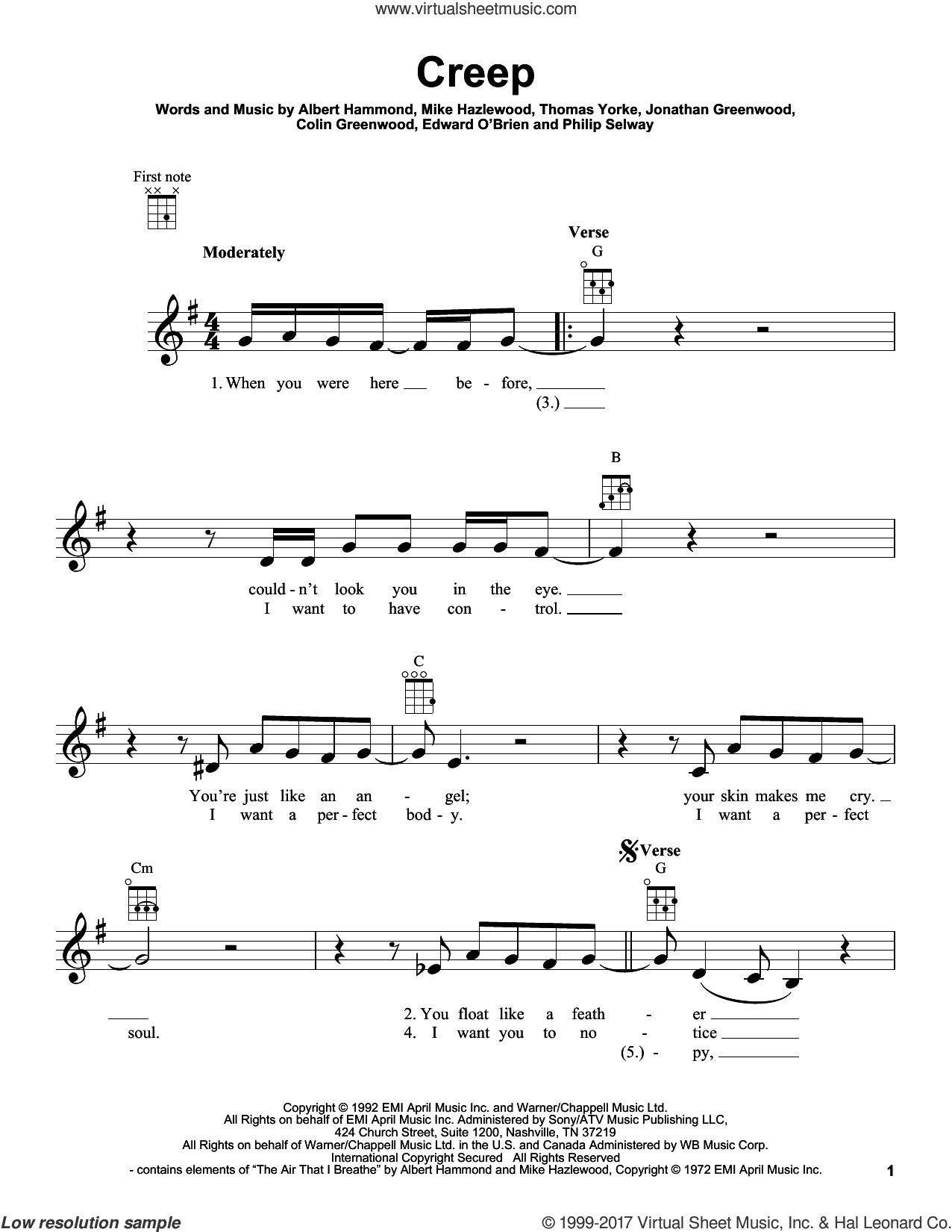 Creep sheet music for ukulele by Radiohead, Albert Hammond, Colin Greenwood, Jonathan Greenwood, Michael Hazlewood, Philip Selway and Thom Yorke, intermediate. Score Image Preview.