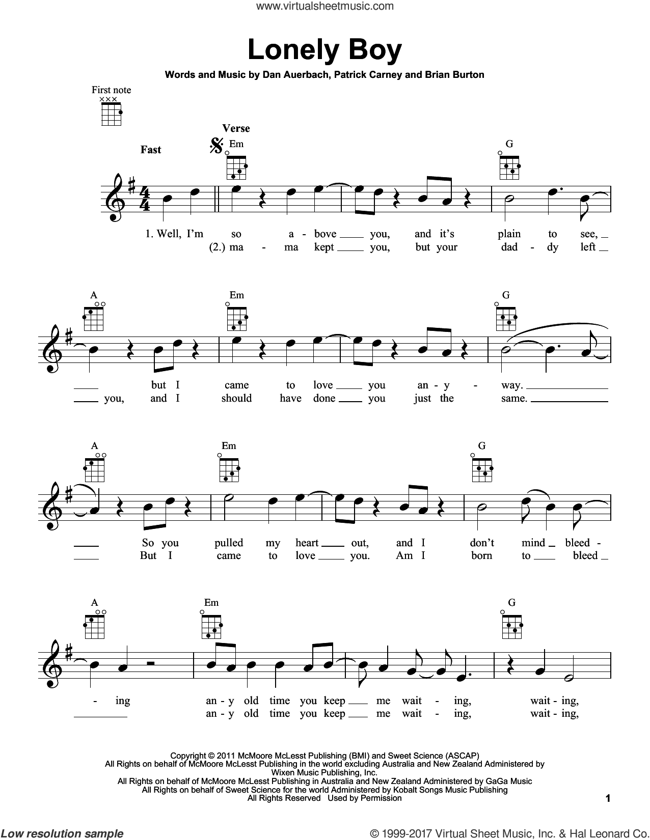Lonely Boy sheet music for ukulele by The Black Keys, Brian Burton, Daniel Auerbach and Patrick Carney, intermediate skill level