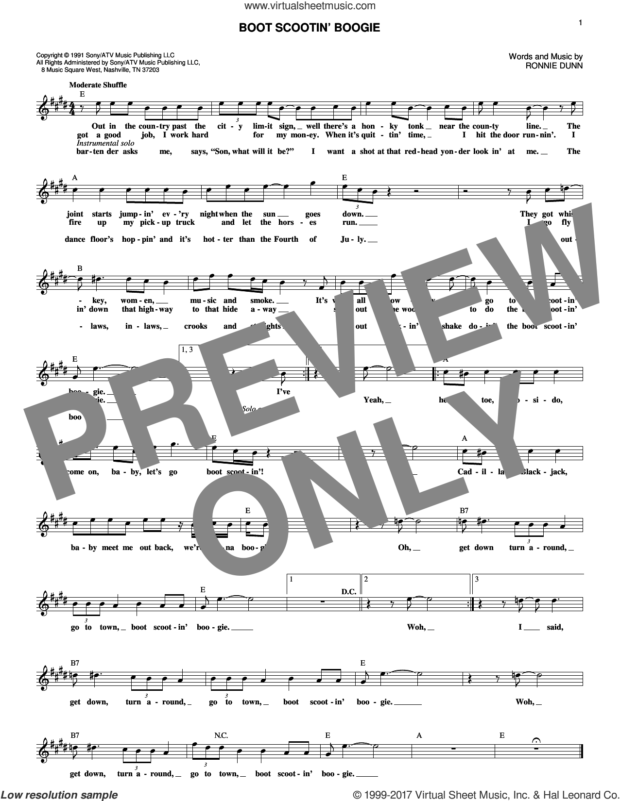 Boot Scootin' Boogie sheet music for voice and other instruments (fake book) by Brooks & Dunn and Ronnie Dunn, intermediate skill level