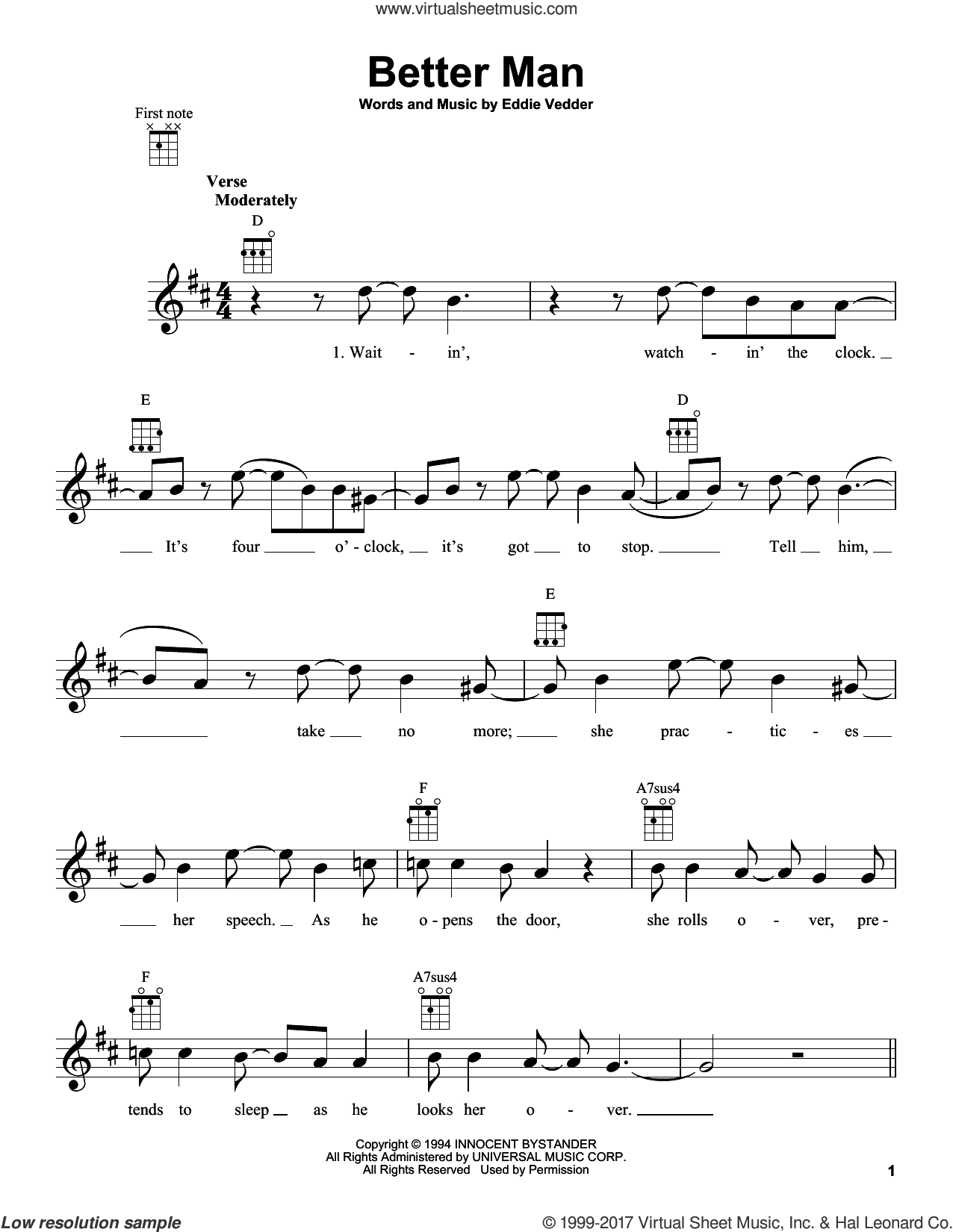 Better Man sheet music for ukulele by Pearl Jam and Eddie Vedder, intermediate skill level