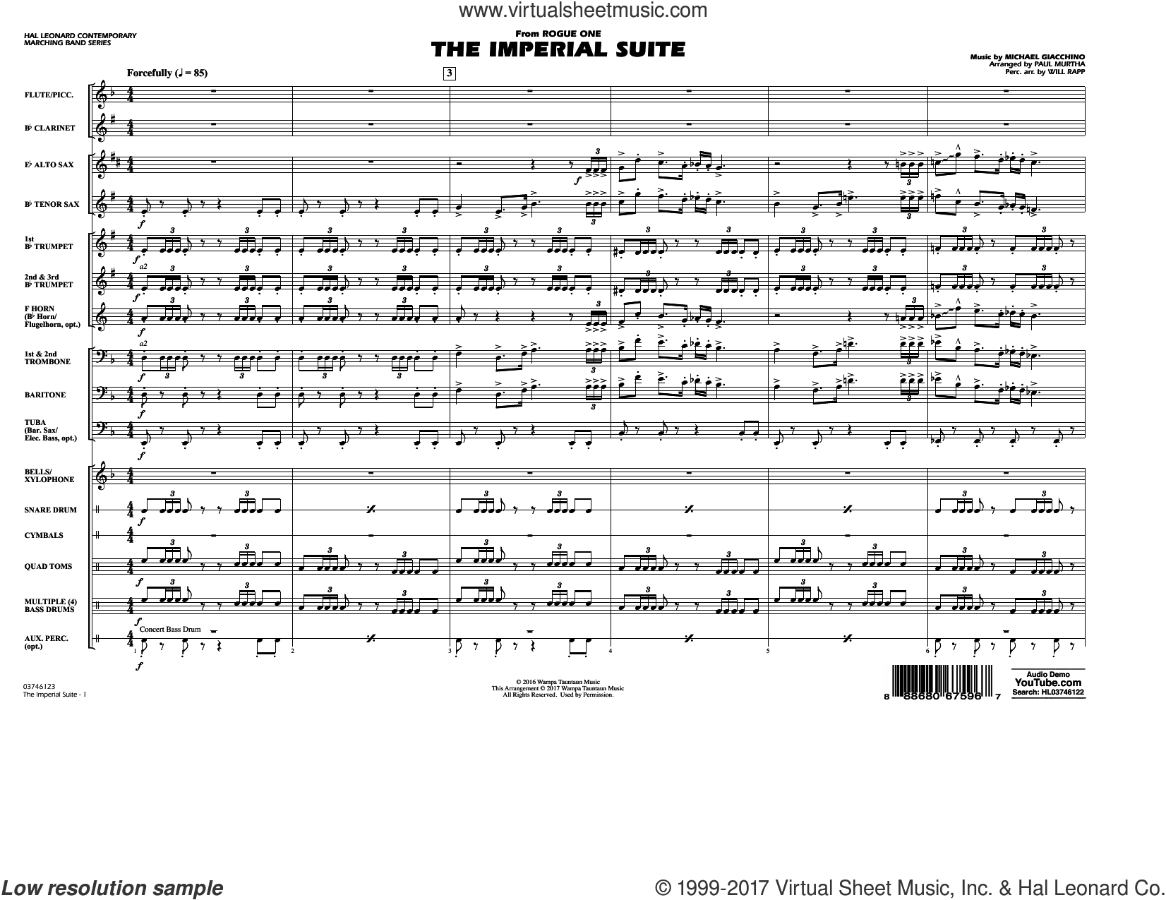 The Imperial Suite (from Rogue One: A Star Wars Story) (COMPLETE) sheet music for marching band by Paul Murtha, Michael Giacchino and Will Rapp, classical score, intermediate marching band. Score Image Preview.