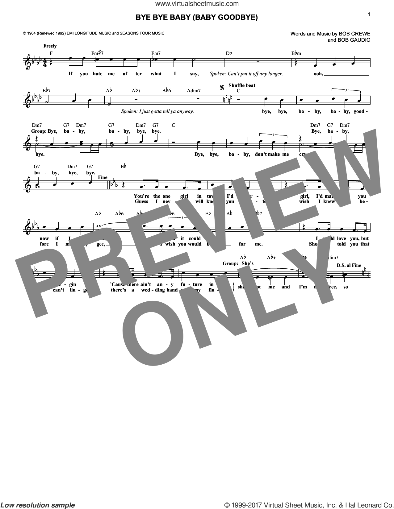 Bye Bye Baby (Baby Goodbye) sheet music for voice and other instruments (fake book) by The Four Seasons, Bob Crewe and Bob Gaudio, intermediate skill level