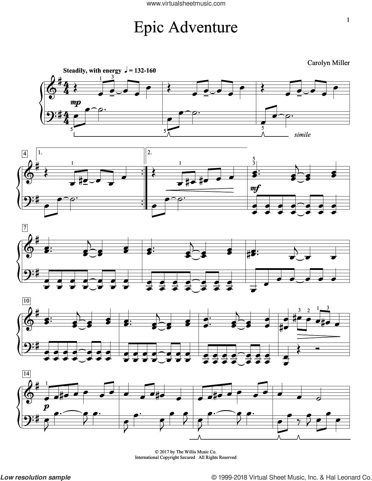 Epic Adventure sheet music for piano solo (elementary) by Carolyn Miller, beginner piano (elementary)