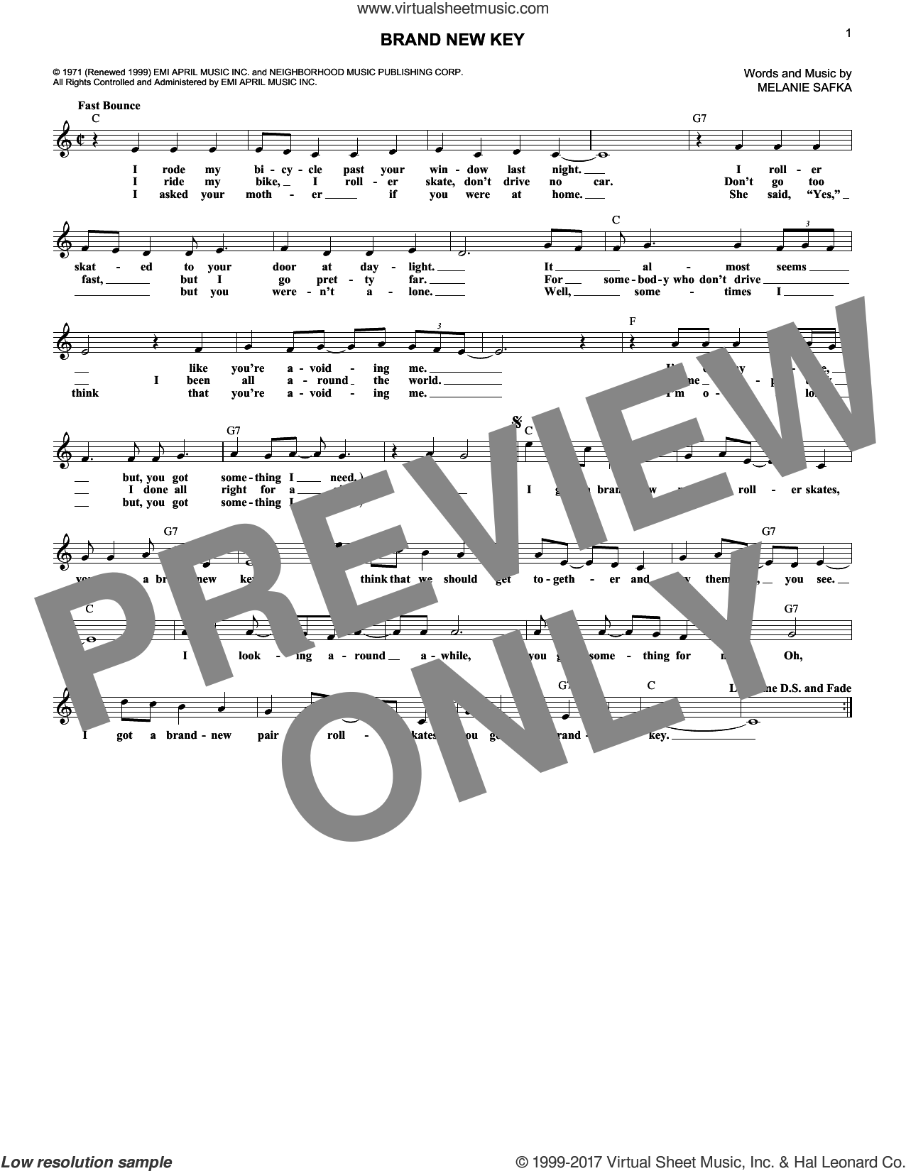 Brand New Key sheet music for voice and other instruments (fake book) by Melanie Safka and Melanie. Score Image Preview.