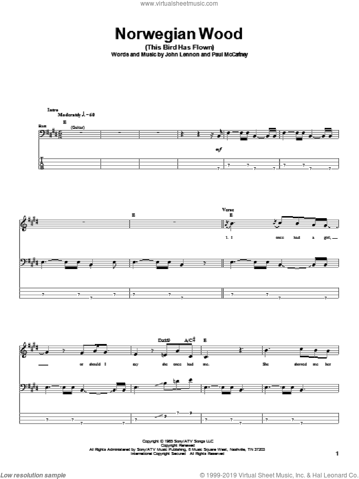Norwegian Wood (This Bird Has Flown) sheet music for bass (tablature) (bass guitar) by Paul McCartney, The Beatles and John Lennon. Score Image Preview.