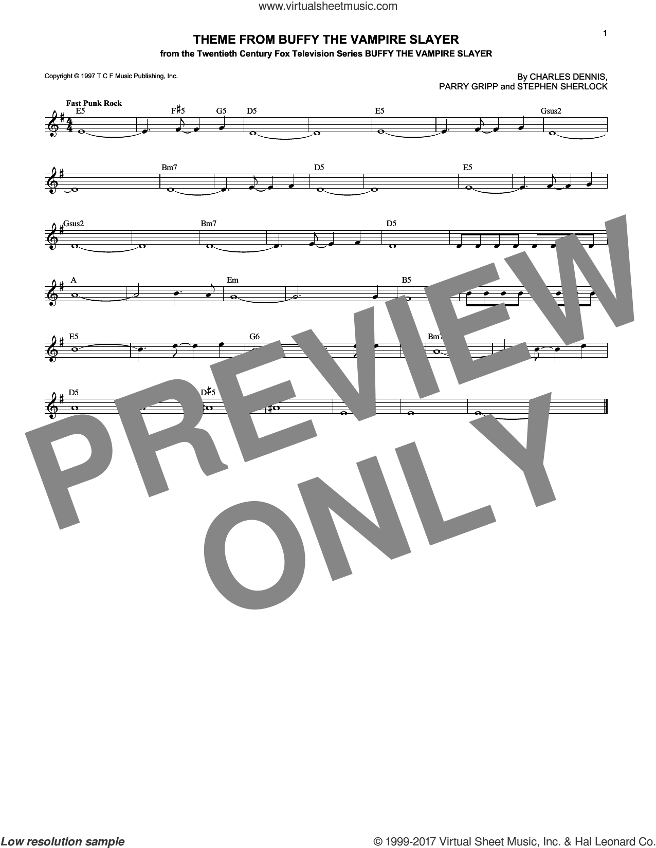 Theme From Buffy The Vampire Slayer sheet music for voice and other instruments (fake book) by Stephen Sherlock, Charles Dennis and Parry Gripp, intermediate skill level