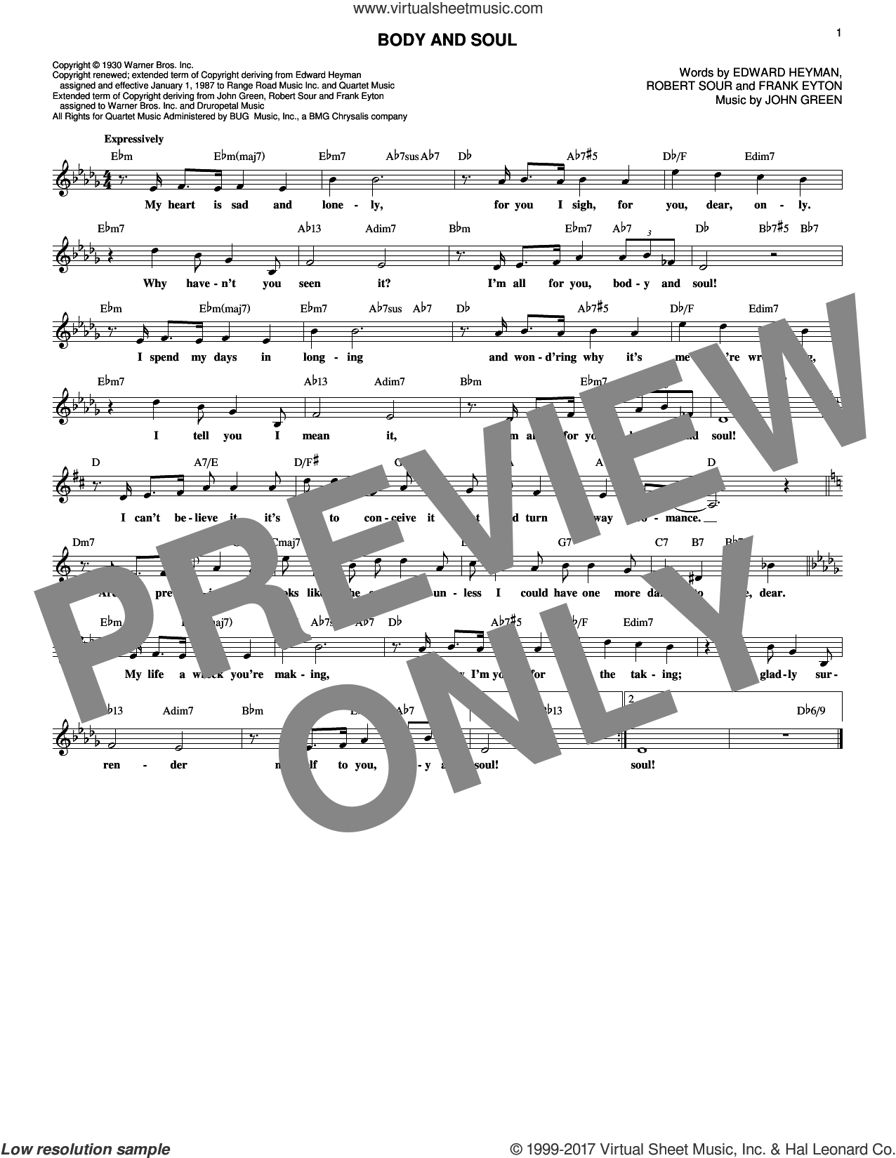 Body And Soul sheet music for voice and other instruments (fake book) by Tony Bennett & Amy Winehouse, Edward Heyman, Frank Eyton, Johnny Green and Robert Sour, intermediate skill level