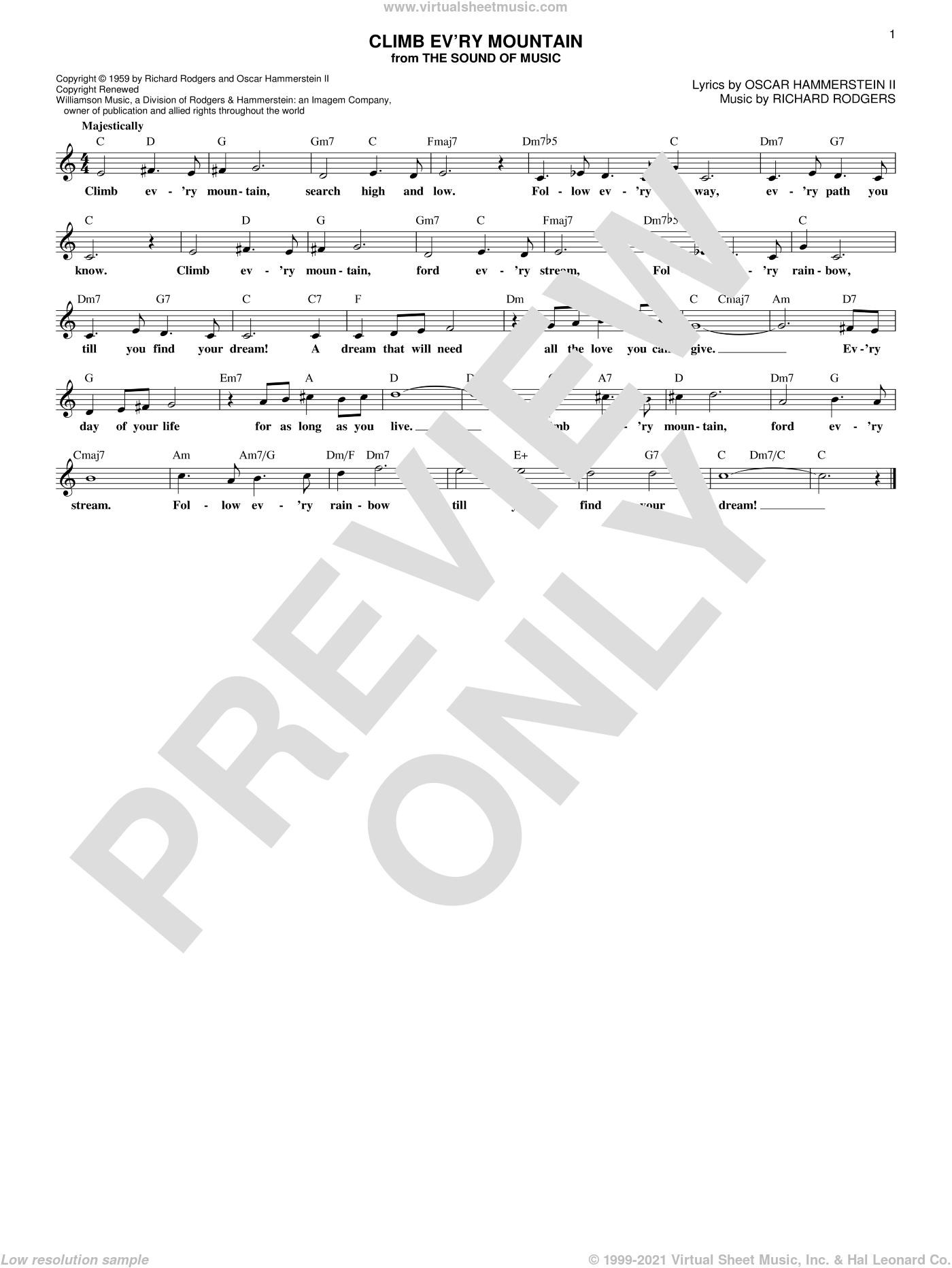 Climb Ev'ry Mountain (from The Sound of Music) sheet music for voice and other instruments (fake book) by Rodgers & Hammerstein, Margery McKay, Patricia Neway, Oscar II Hammerstein and Richard Rodgers, intermediate skill level
