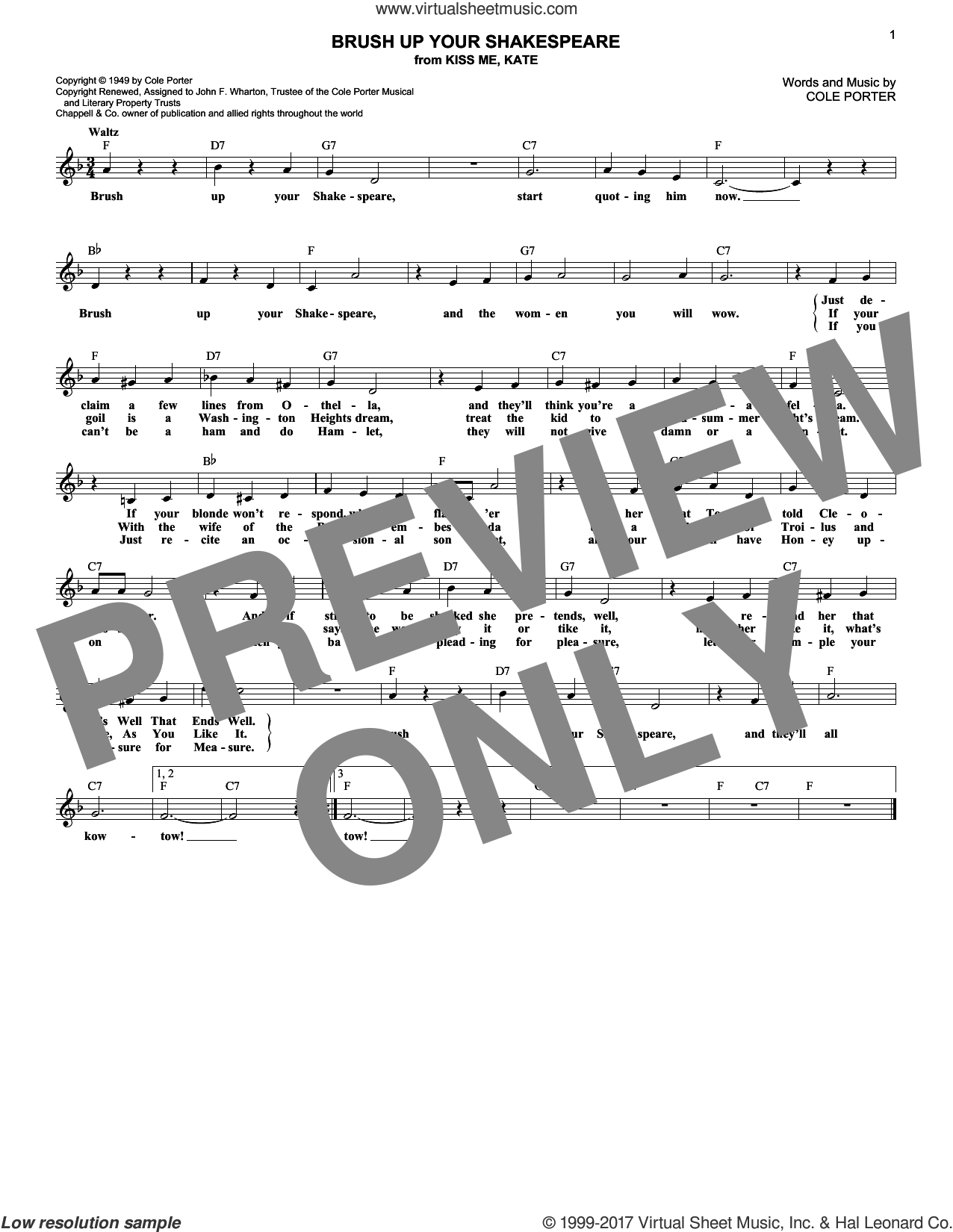 Brush Up Your Shakespeare sheet music for voice and other instruments (fake book) by Cole Porter, intermediate skill level