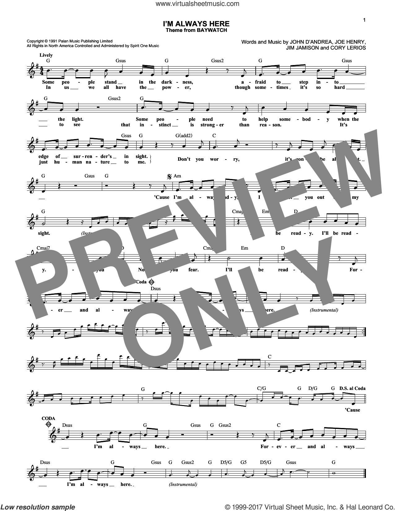 I'm Always Here sheet music for voice and other instruments (fake book) by John D'Andrea, Cory Lerios, Jim Jamison and Joe Henry, intermediate skill level