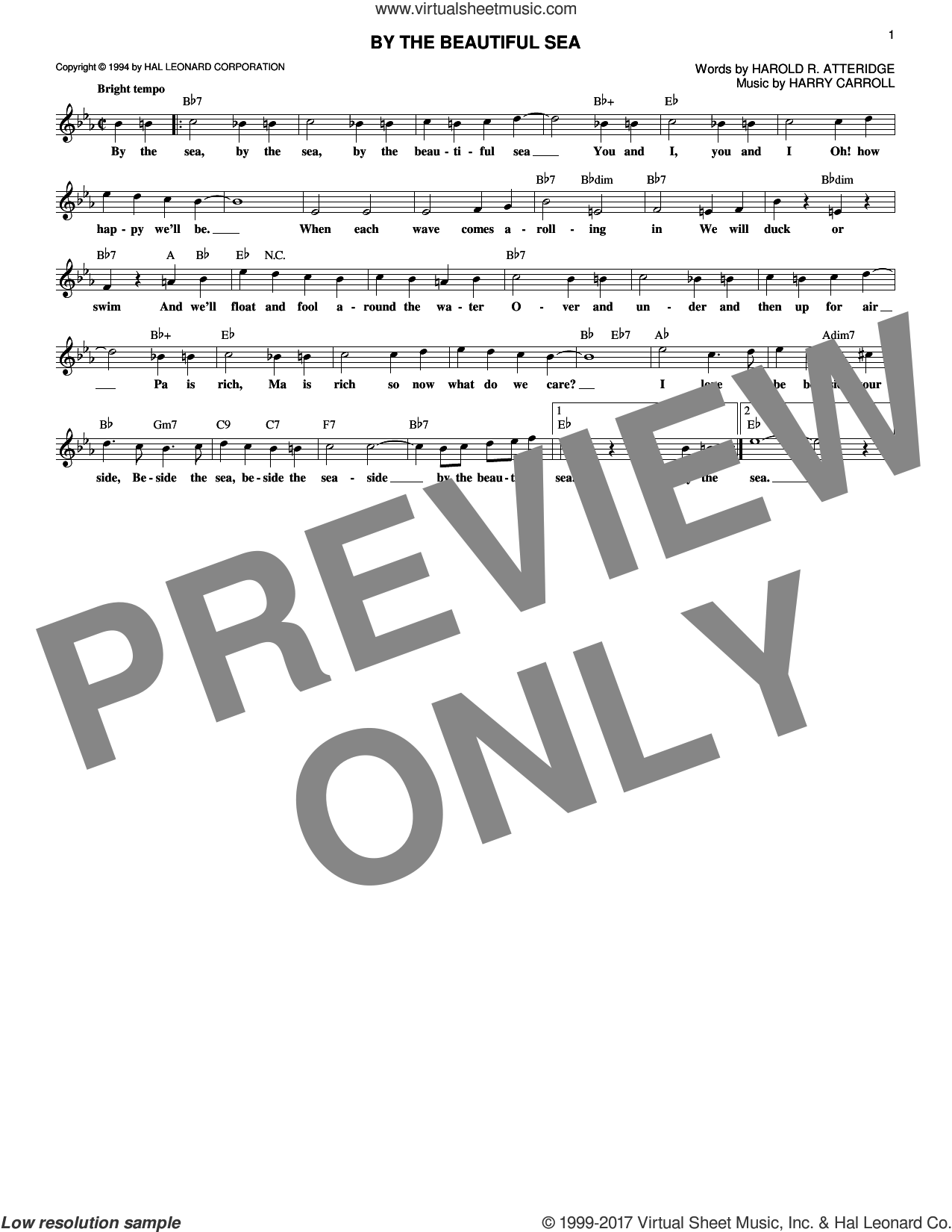 By The Beautiful Sea sheet music for voice and other instruments (fake book) by Harold R. Atteridge and Harry Carroll, intermediate. Score Image Preview.