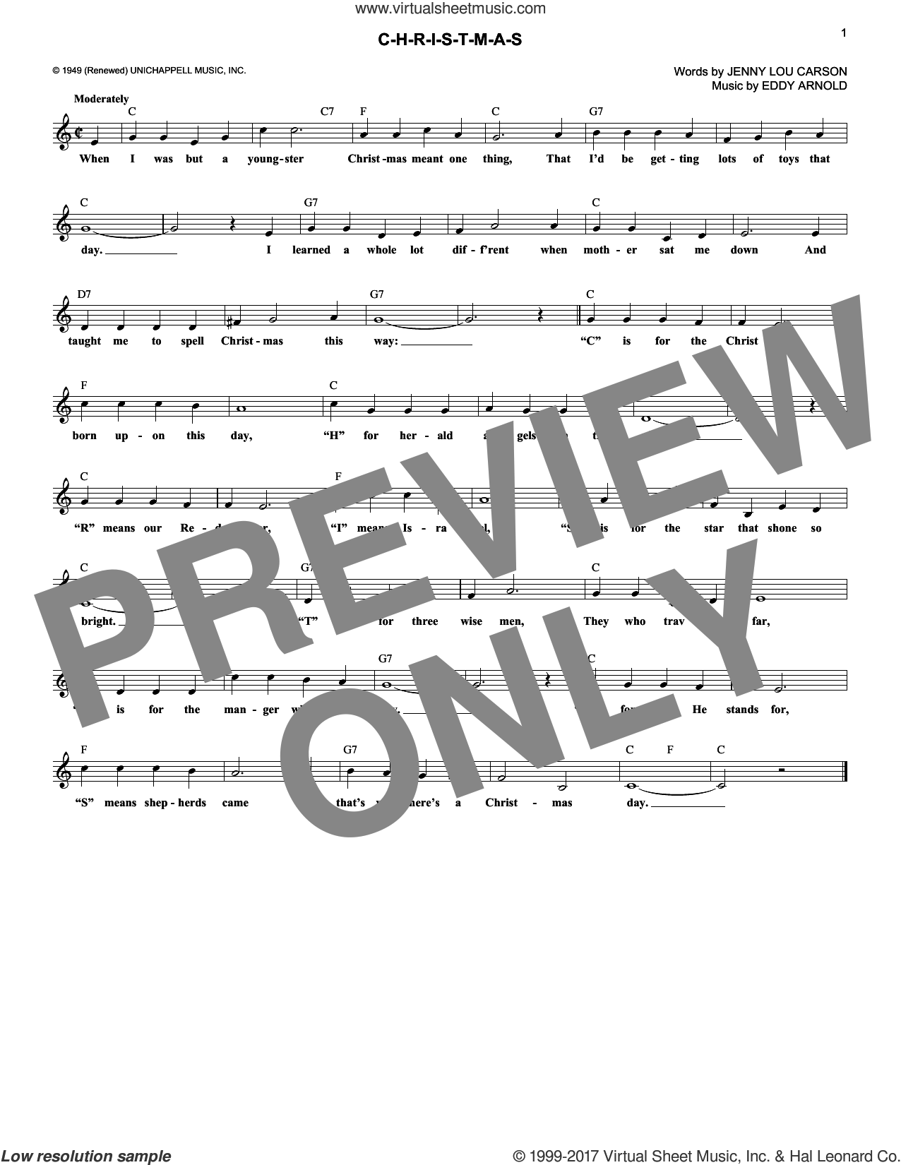 C-H-R-I-S-T-M-A-S sheet music for voice and other instruments (fake book) by Eddy Arnold and Jenny Lou Carson, intermediate skill level