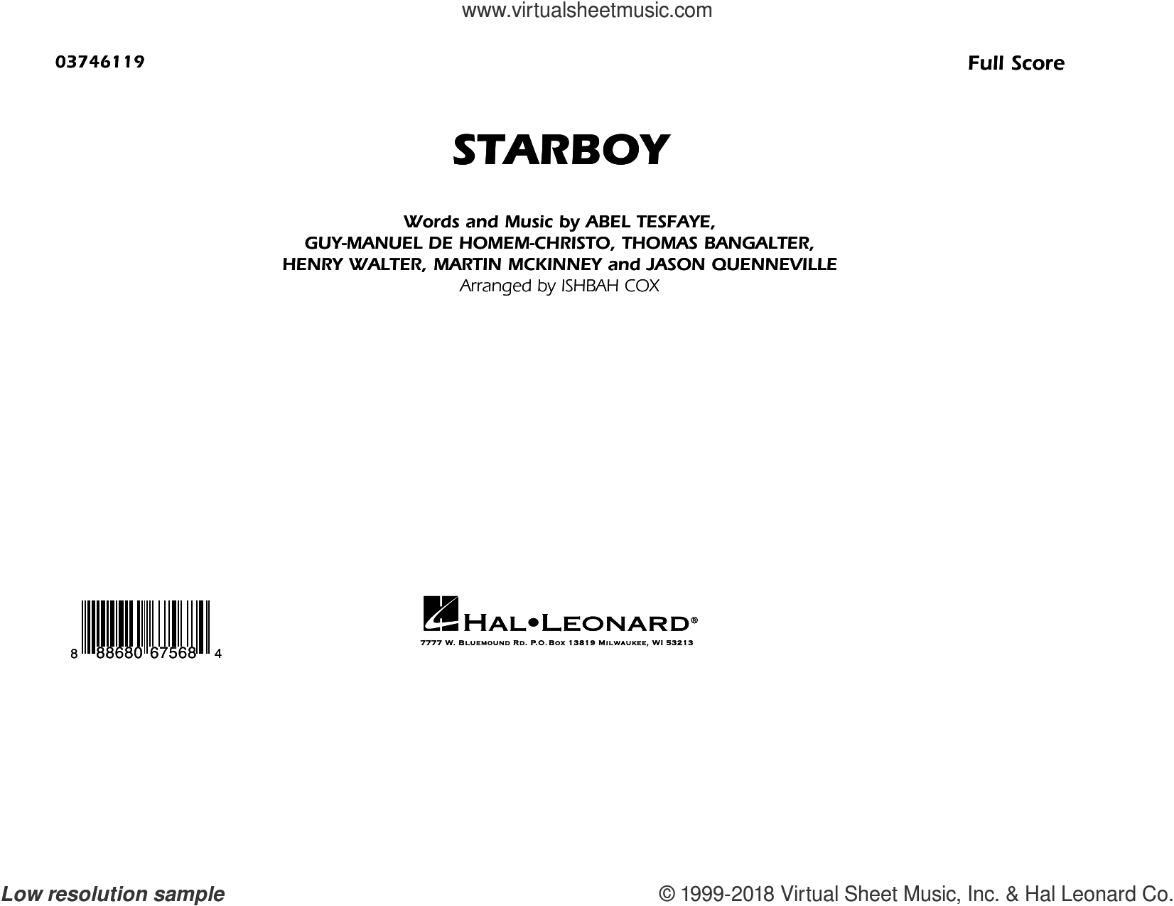 Starboy (COMPLETE) sheet music for marching band by Ishbah Cox, Abel Tesfaye, Guy-Manuel de Homem-Christo, Henry Russell Walter, Jason Quenneville, Martin McKinney, The Weeknd feat. Daft Punk and Thomas Bangalter, intermediate skill level