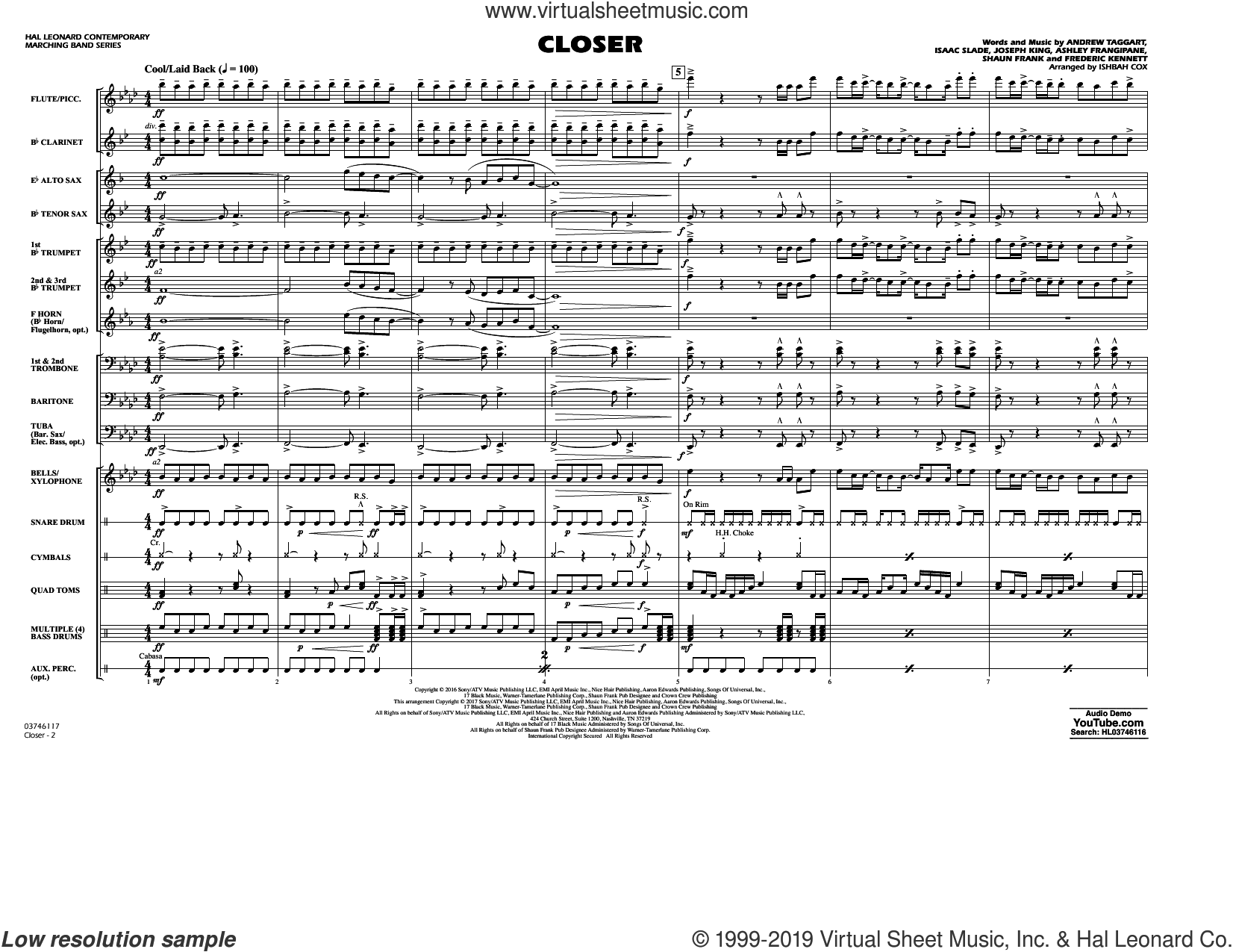 Closer (COMPLETE) sheet music for marching band by Ishbah Cox, Andrew Taggart, Ashley Frangipane, Frederic Kennett, Halsey, Isaac Slade, Joseph King, Shaun Frank and The Chainsmokers featuring Halsey, intermediate skill level