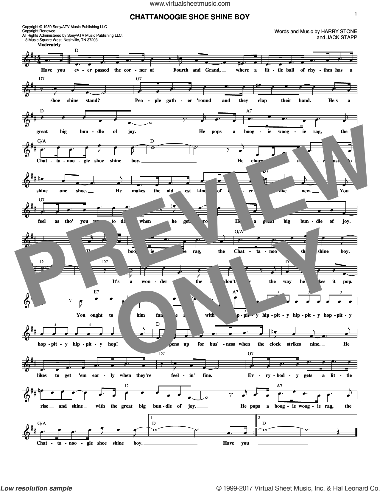 Chattanoogie Shoe Shine Boy sheet music for voice and other instruments (fake book) by Jack Stapp, Red Foley and Harry Stone, intermediate skill level