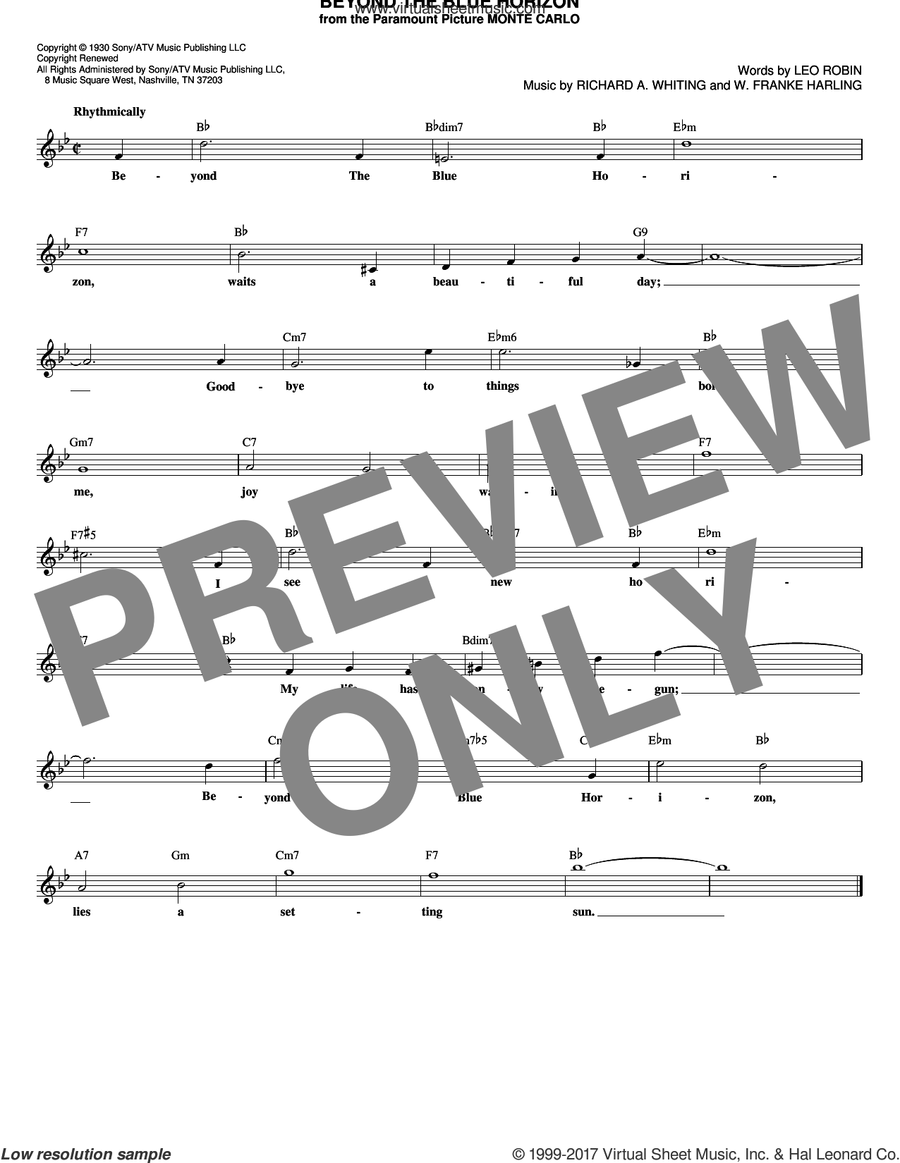 Beyond The Blue Horizon sheet music for voice and other instruments (fake book) by W. Franke Harling, Leo Robin and Richard A. Whiting. Score Image Preview.