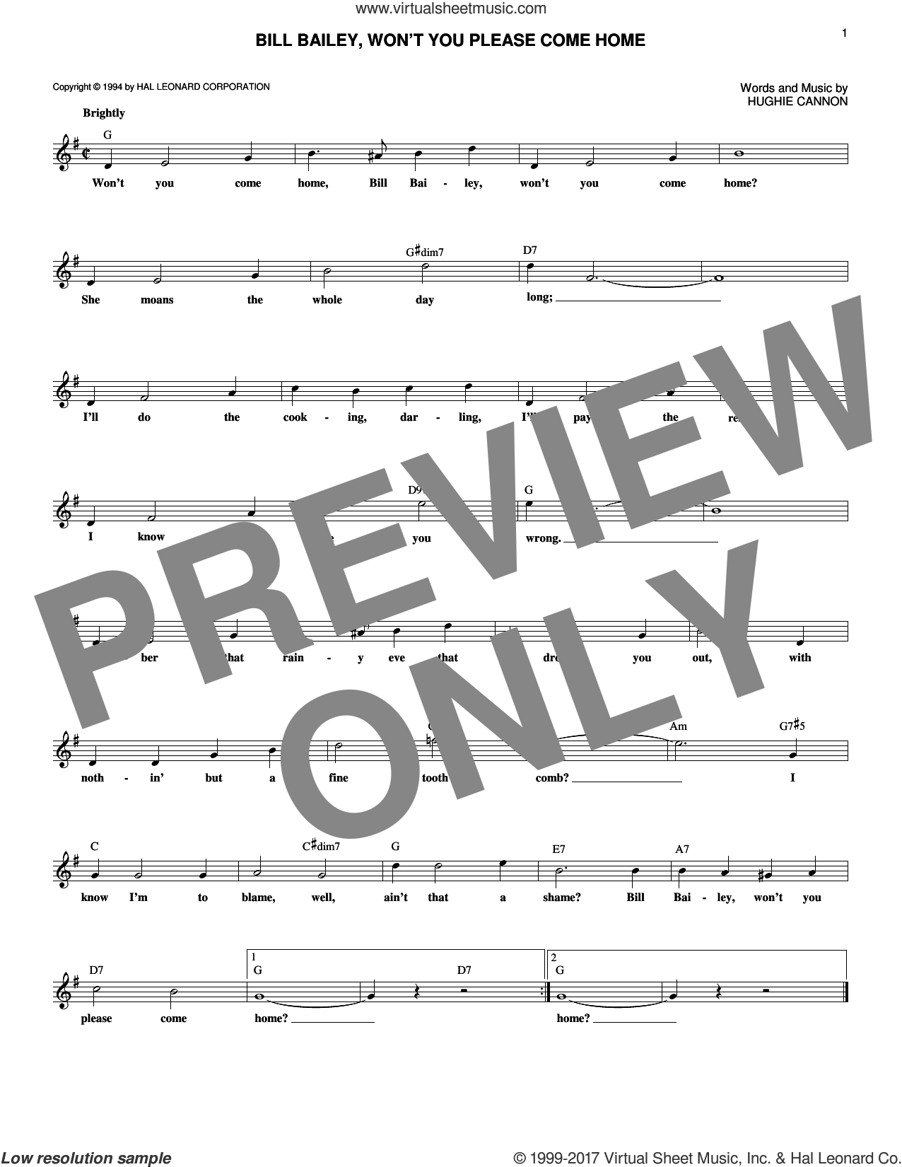 Bill Bailey, Won't You Please Come Home sheet music for voice and other instruments (fake book) by Hughie Cannon, intermediate voice. Score Image Preview.