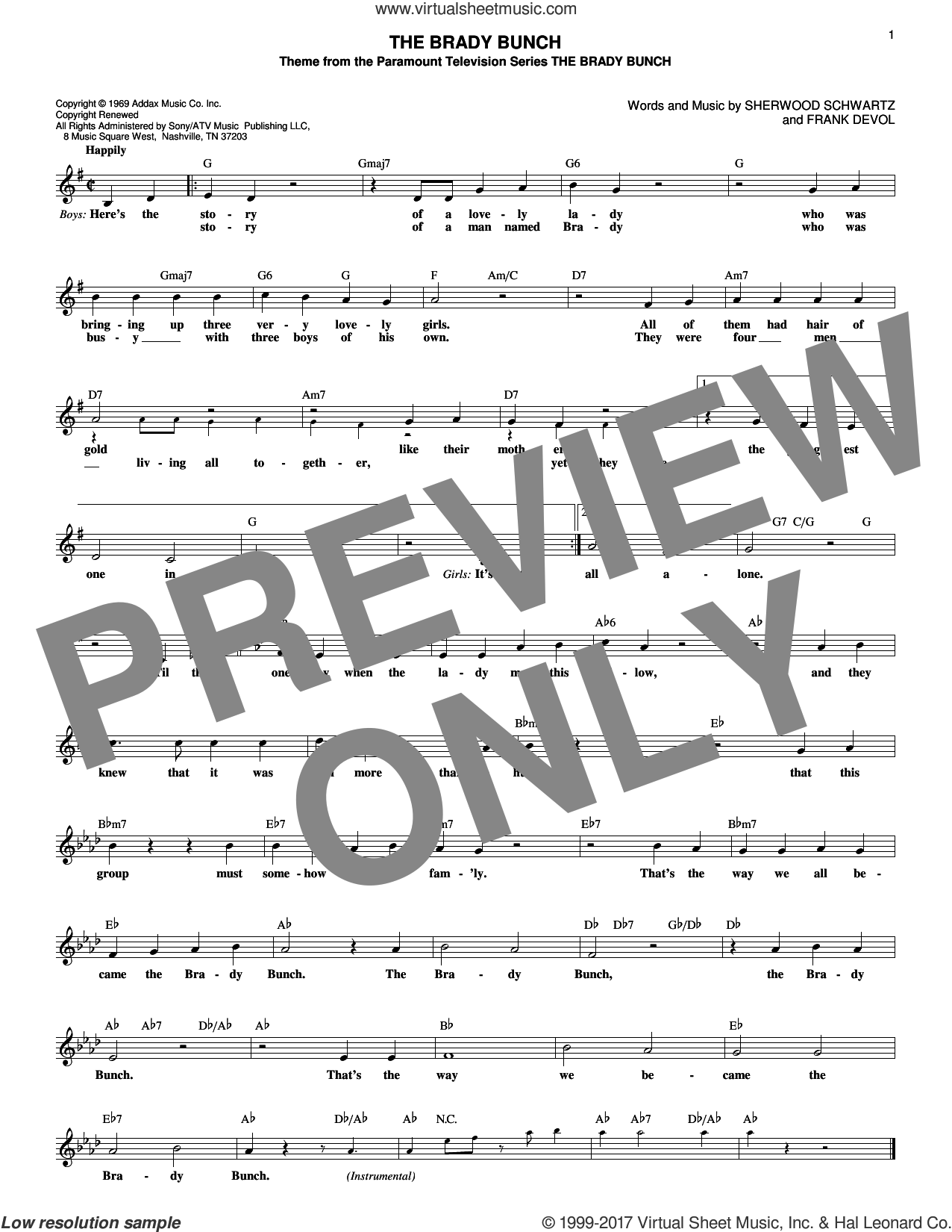 The Brady Bunch sheet music for voice and other instruments (fake book) by Sherwood Schwartz and Frank DeVol. Score Image Preview.
