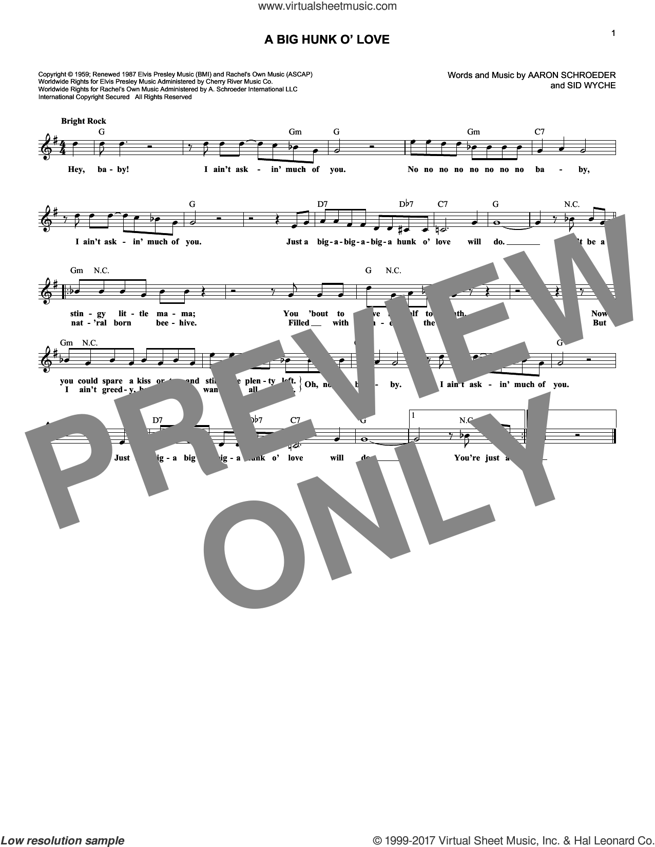A Big Hunk O' Love sheet music for voice and other instruments (fake book) by Elvis Presley, Aaron Schroeder and Sidney Wyche, intermediate skill level