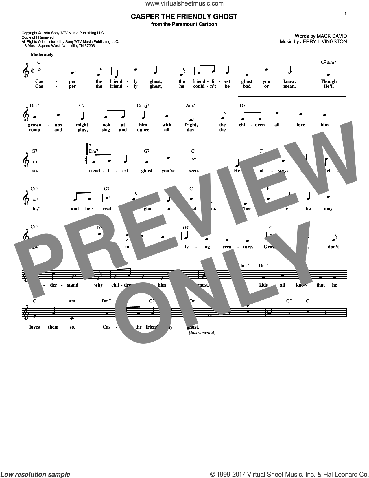 Casper The Friendly Ghost sheet music for voice and other instruments (fake book) by Mack David and Jerry Livingston, intermediate voice. Score Image Preview.