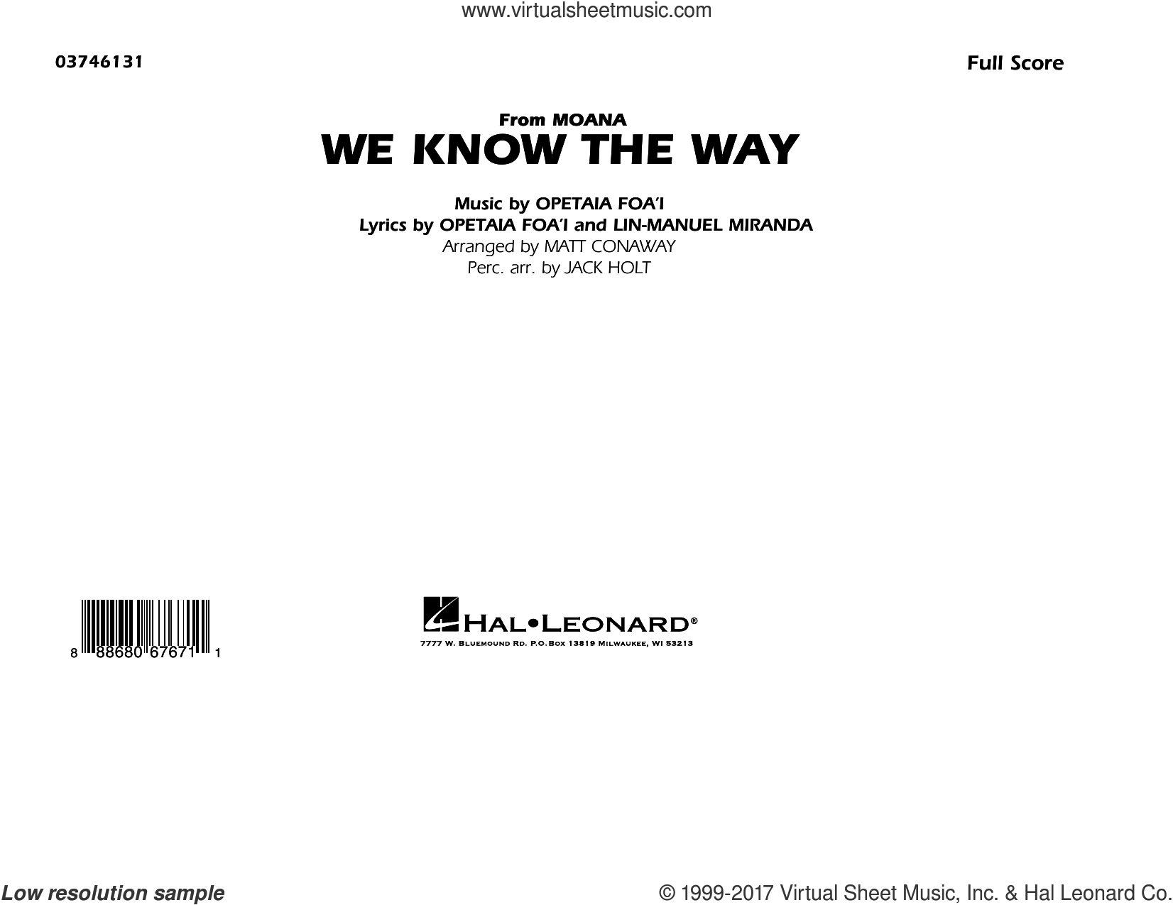 We Know the Way (from Moana) (COMPLETE) sheet music for marching band by Lin-Manuel Miranda and Matt Conaway, intermediate