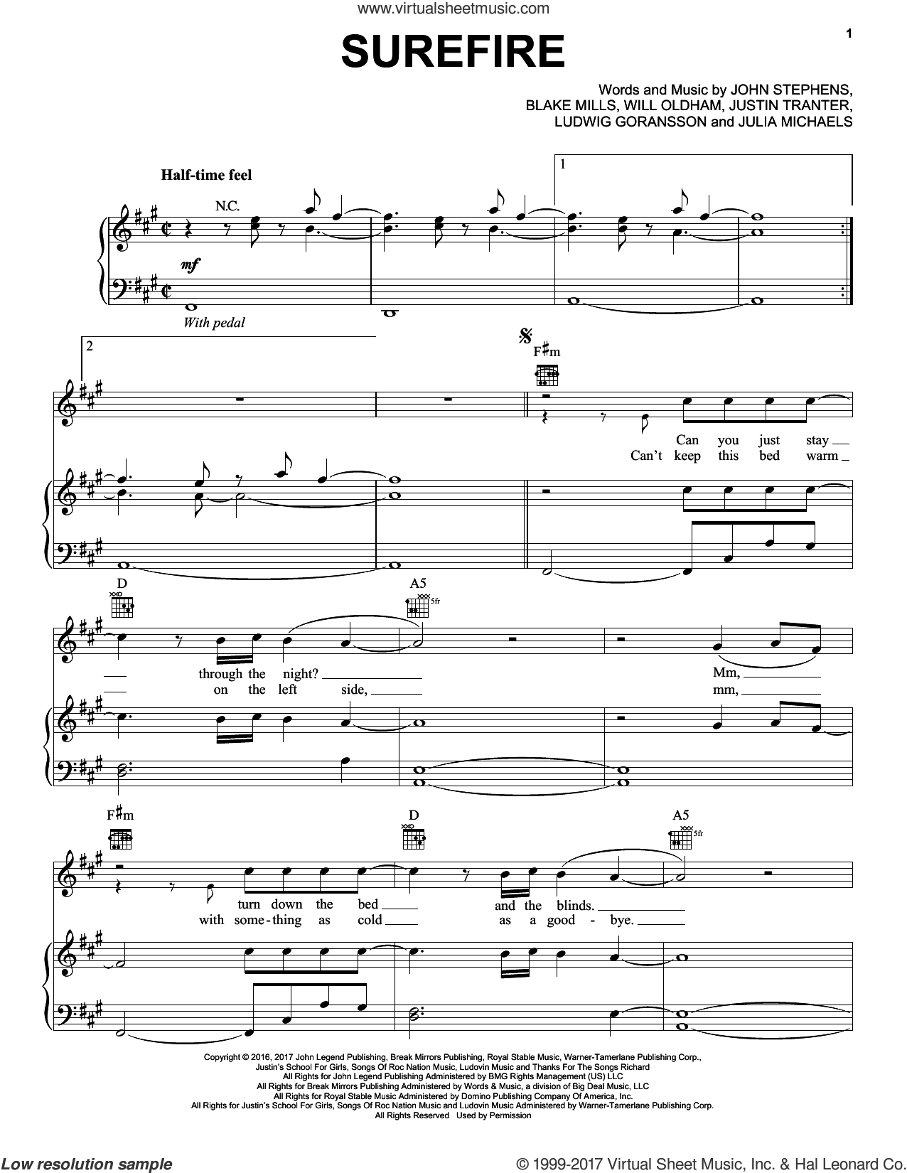 Surefire sheet music for voice, piano or guitar by John Legend, Julia Michaels and Justin Tranter, intermediate. Score Image Preview.
