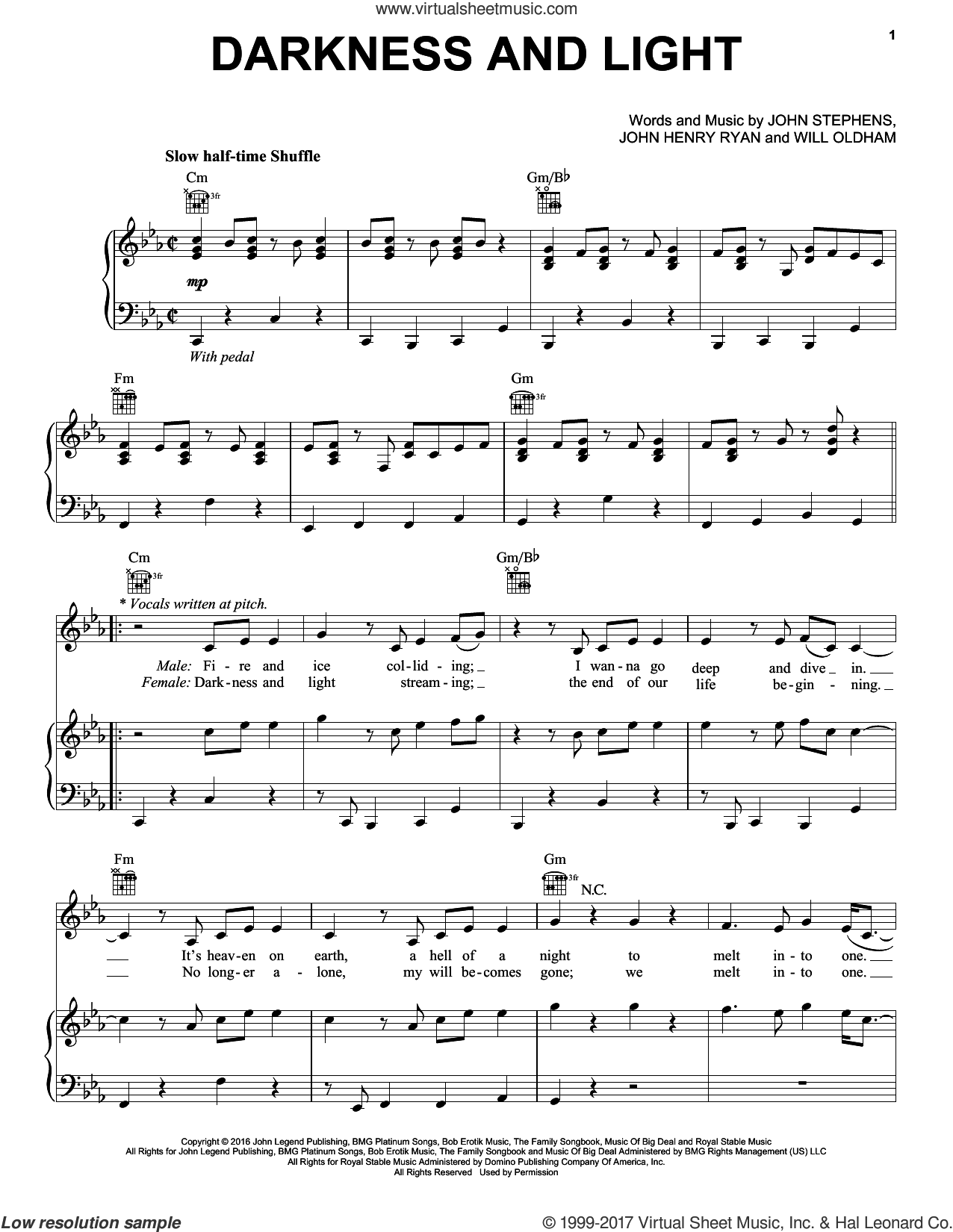 Darkness And Light sheet music for voice, piano or guitar by John Legend, intermediate. Score Image Preview.