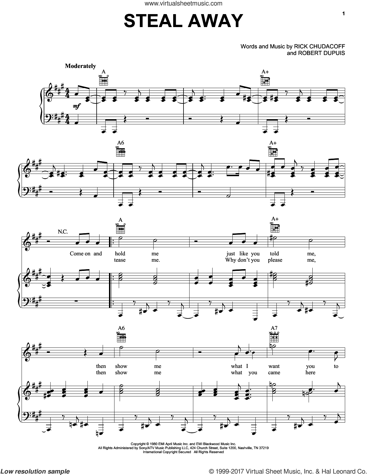 Steal Away sheet music for voice, piano or guitar by Robert Dupuis, intermediate. Score Image Preview.