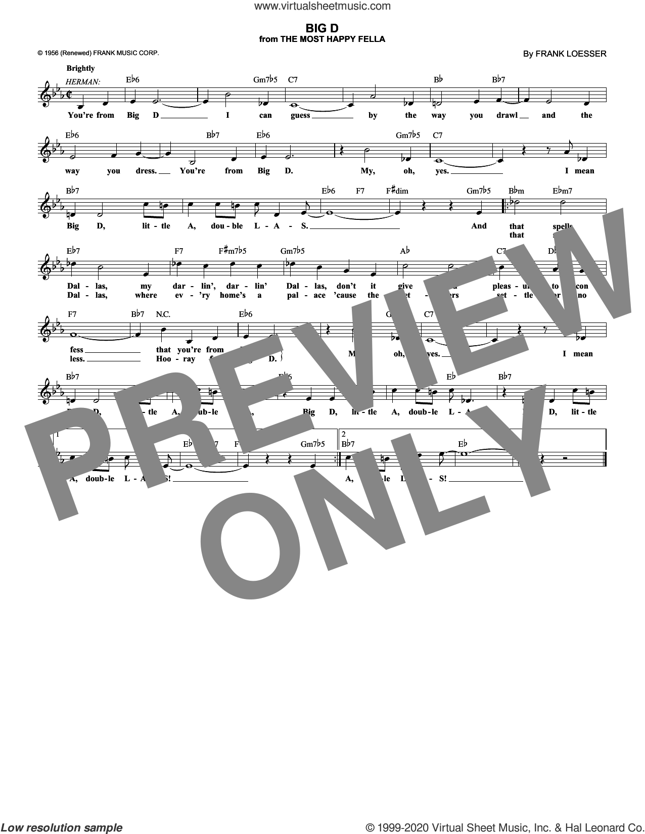 Big D sheet music for voice and other instruments (fake book) by Frank Loesser, intermediate skill level