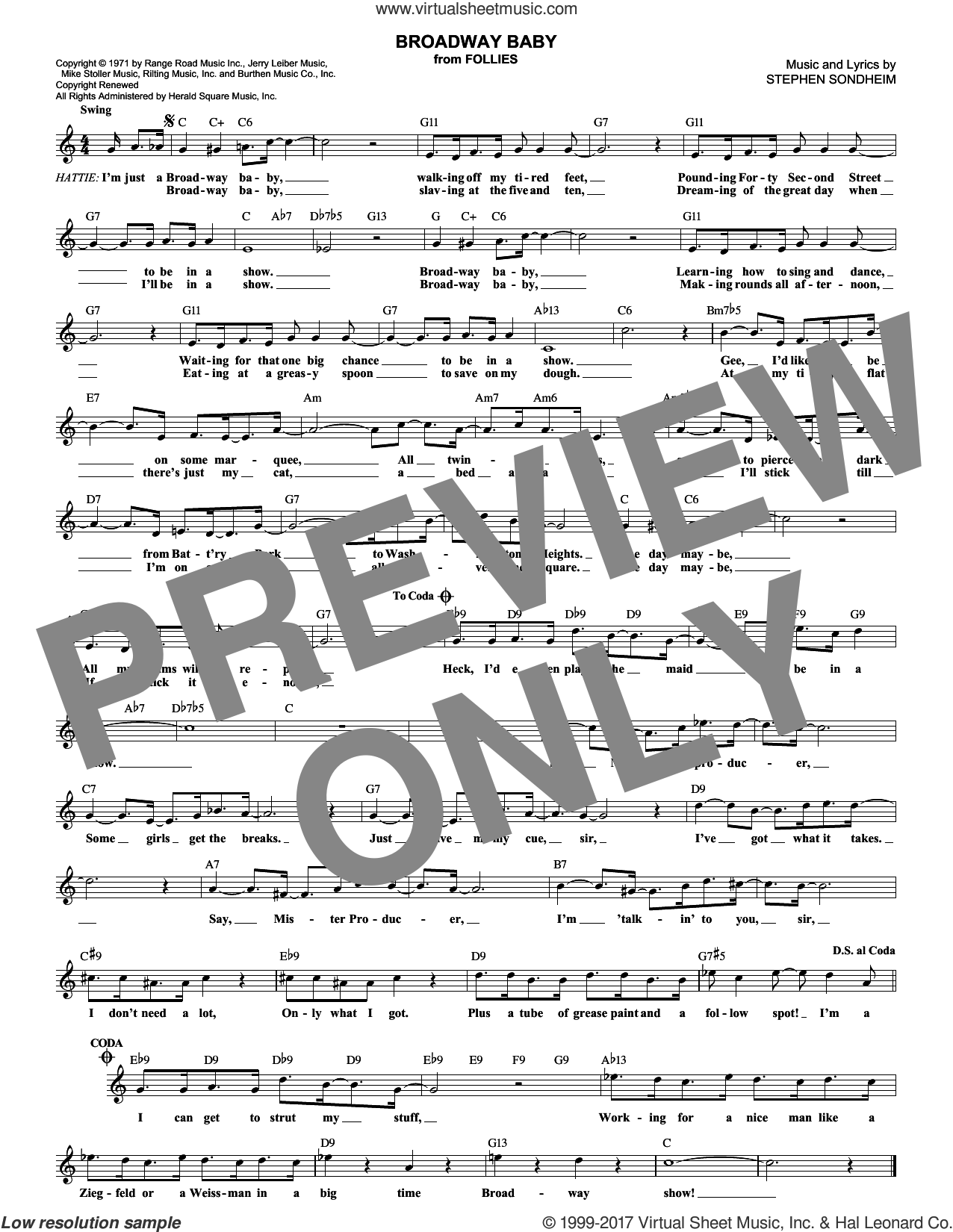 Broadway Baby sheet music for voice and other instruments (fake book) by Stephen Sondheim, intermediate skill level