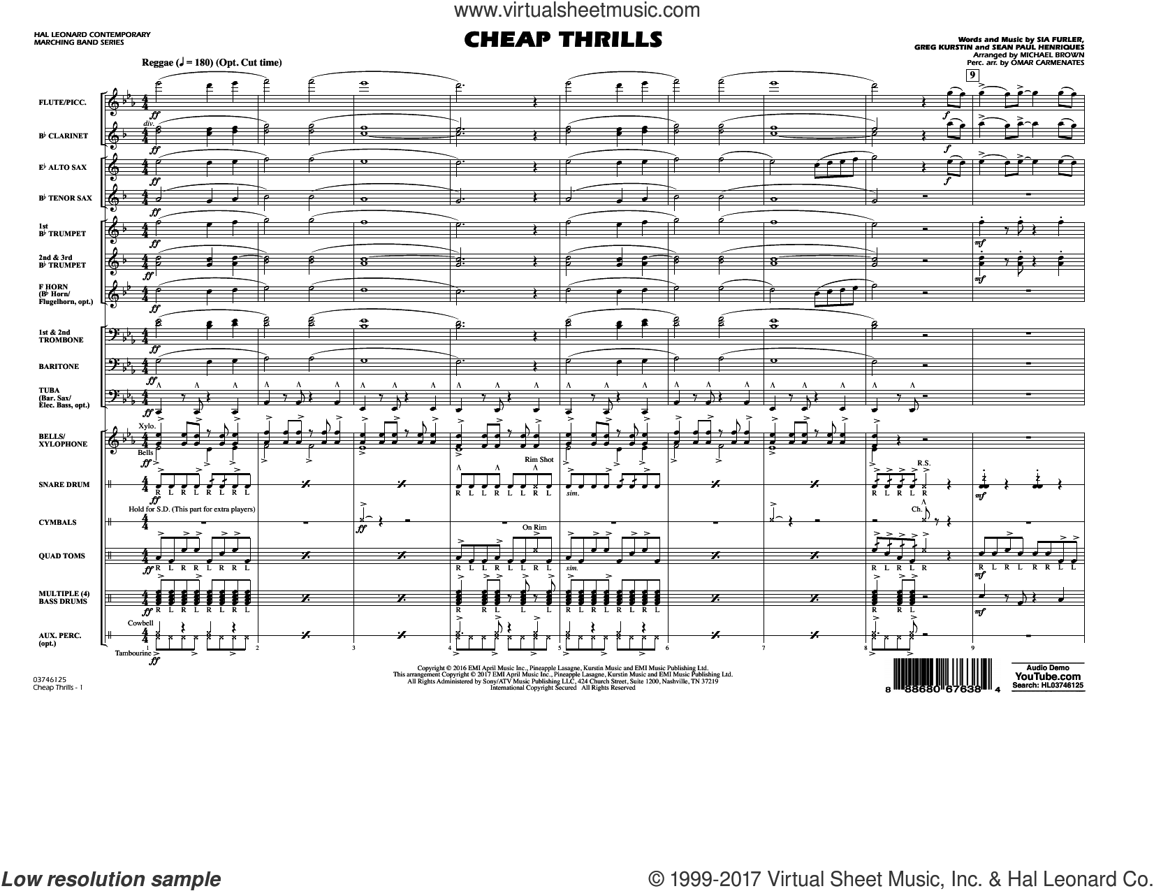 Cheap Thrills (COMPLETE) sheet music for marching band by Michael Brown, Greg Kurstin and Sia feat. Sean Paul, intermediate. Score Image Preview.