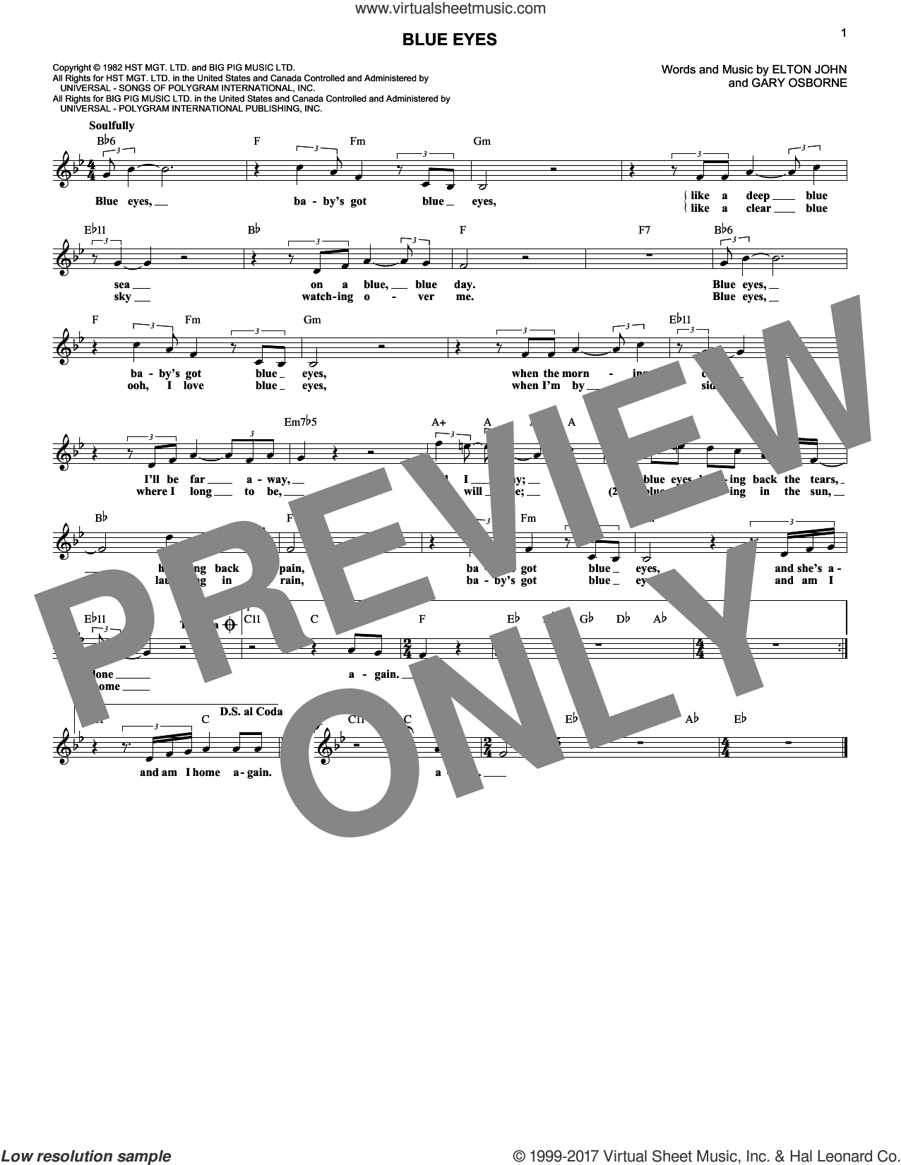 Blue Eyes sheet music for voice and other instruments (fake book) by Elton John and Gary Osborne, intermediate. Score Image Preview.