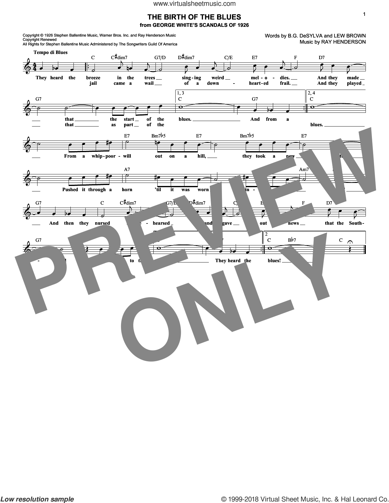 The Birth Of The Blues sheet music for voice and other instruments (fake book) by Buddy DeSylva, Lew Brown and Ray Henderson, intermediate skill level