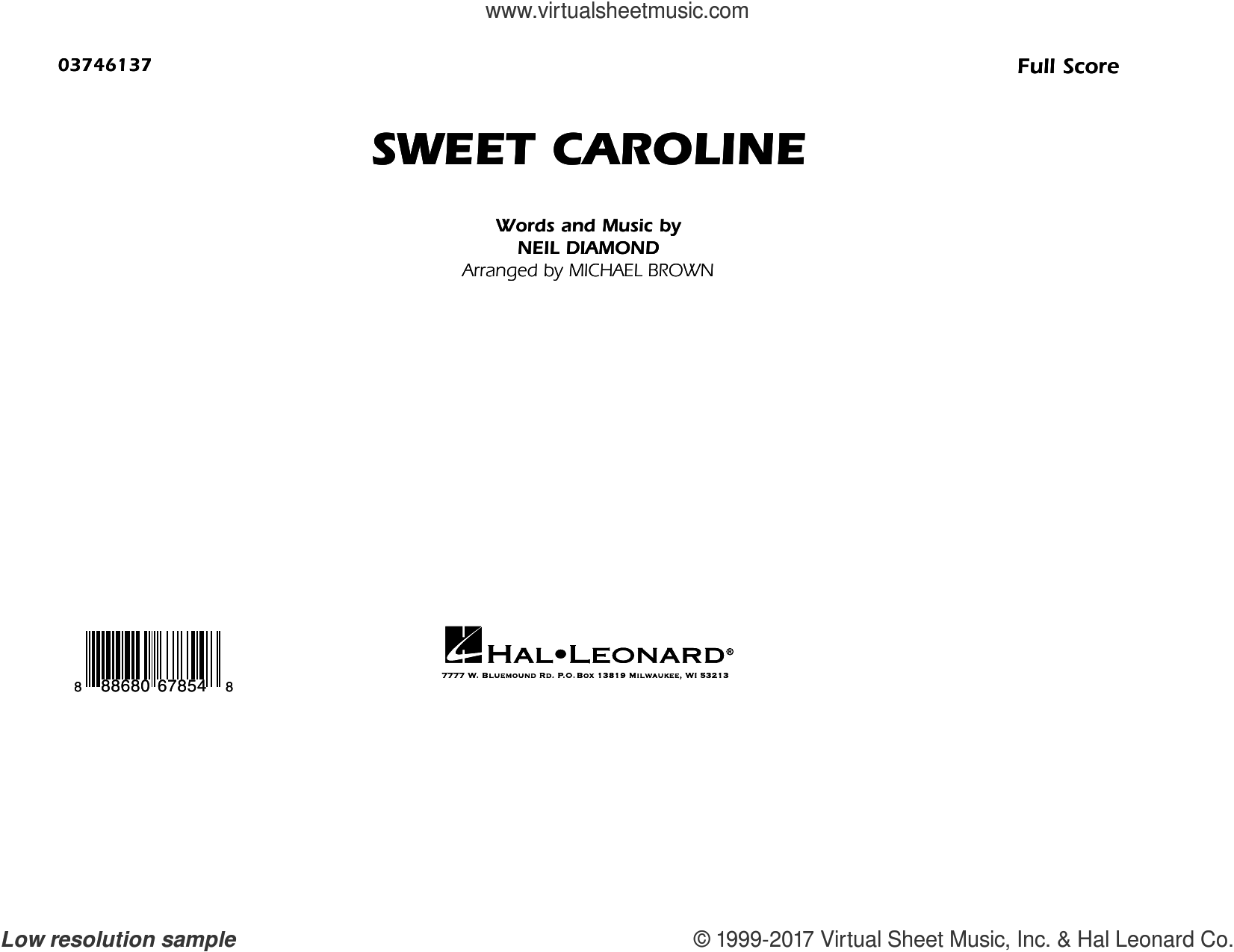 Sweet Caroline (COMPLETE) sheet music for marching band by Neil Diamond, Glee Cast featuring Mark Salling and Michael Brown, intermediate. Score Image Preview.