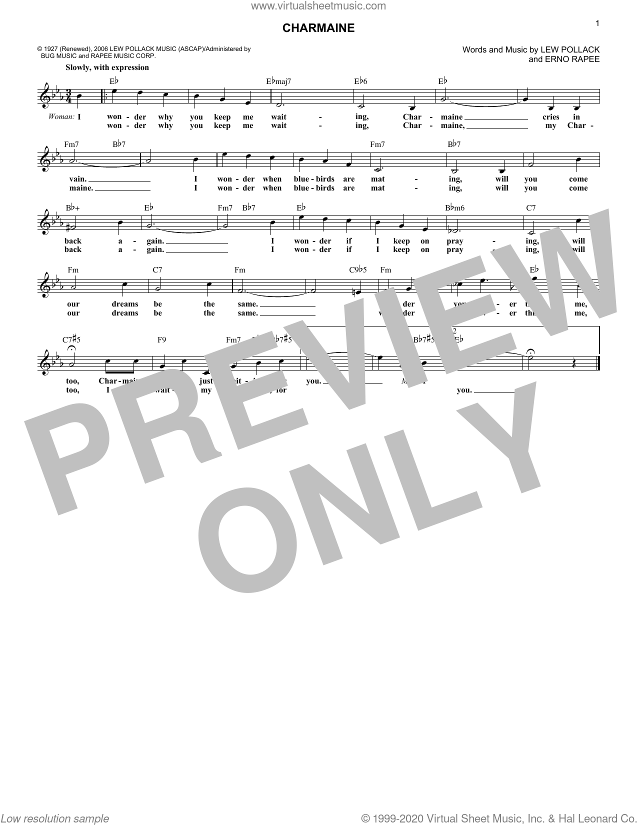 Charmaine sheet music for voice and other instruments (fake book) by Lew Pollack, The Four Freshmen and Erno Rapee, intermediate skill level