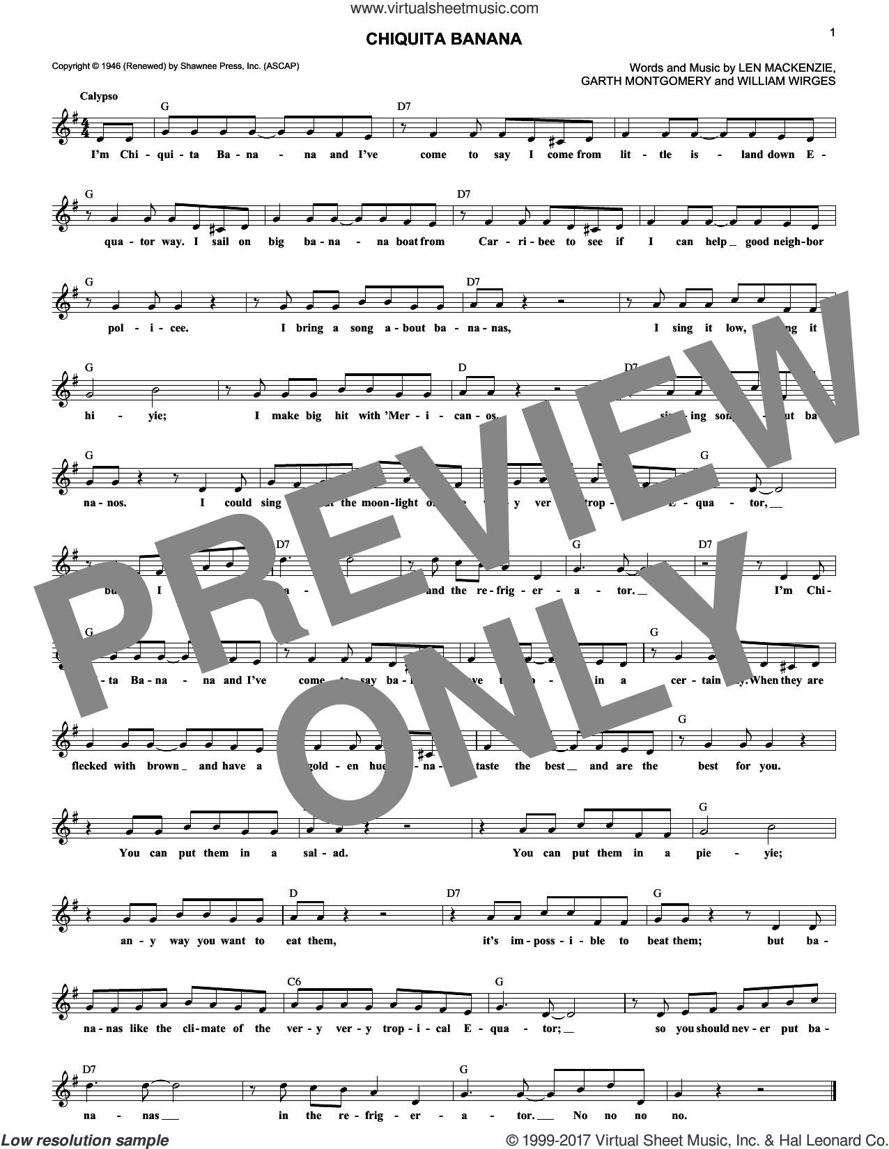Chiquita Banana sheet music for voice and other instruments (fake book) by Len Mackenzie, intermediate voice. Score Image Preview.