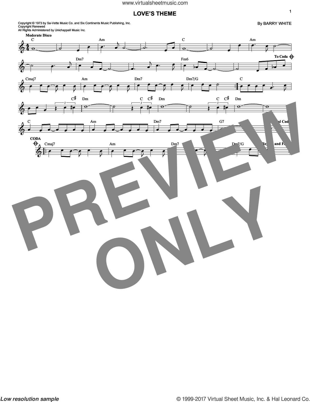 Love's Theme sheet music for voice and other instruments (fake book) by Love Unlimited Orchestra and Barry White, intermediate skill level