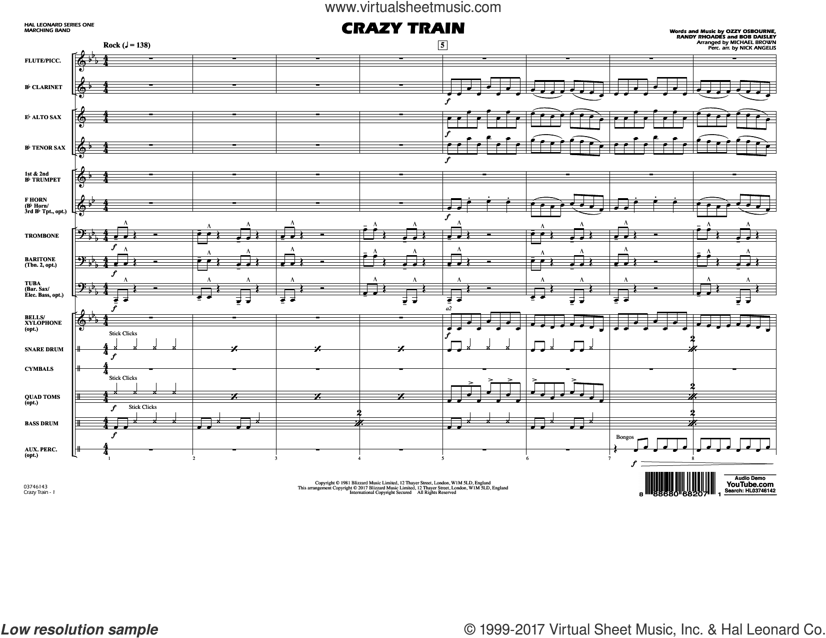 Crazy Train (COMPLETE) sheet music for marching band by Michael Brown, Ozzy Osbourne and Randy Rhoads, intermediate. Score Image Preview.