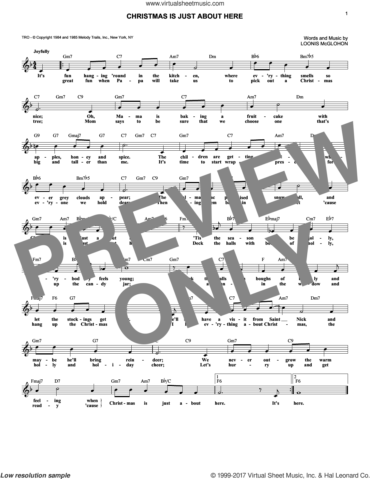 Christmas Is Just About Here sheet music for voice and other instruments (fake book) by Loonis McGlohon, intermediate skill level