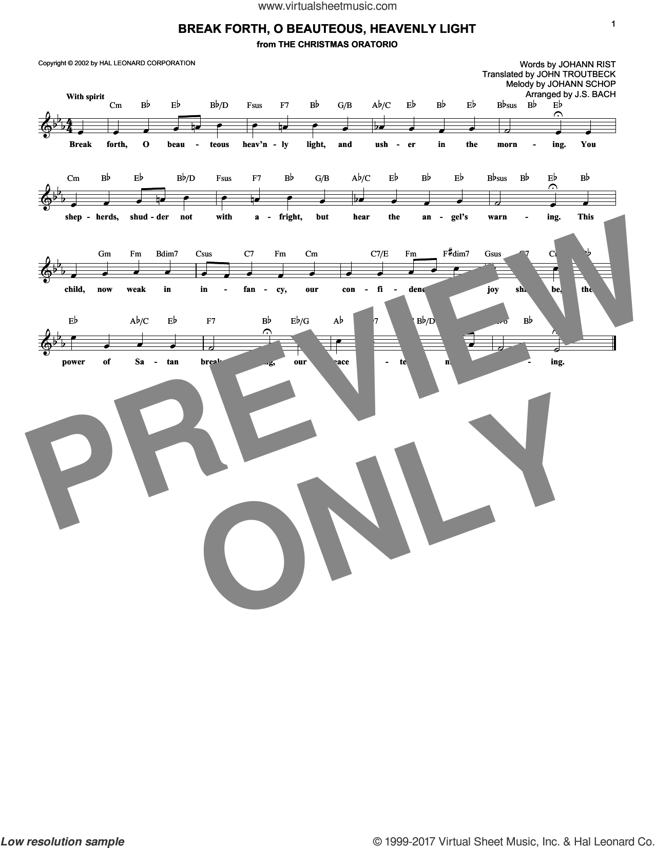 Break Forth, O Beauteous, Heavenly Light sheet music for voice and other instruments (fake book) by Johann Sebastian Bach, Johann Rist, Johann Schop and John Troutbeck (trans.), intermediate skill level