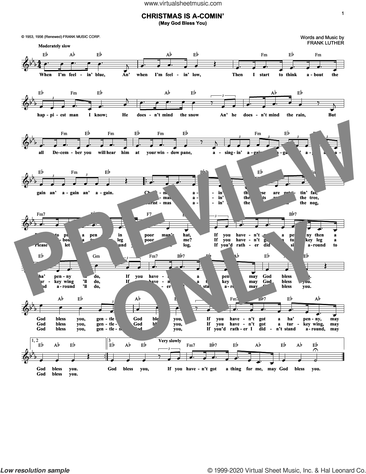 Christmas Is A-Comin' (May God Bless You) sheet music for voice and other instruments (fake book) by Frank Luther, intermediate skill level