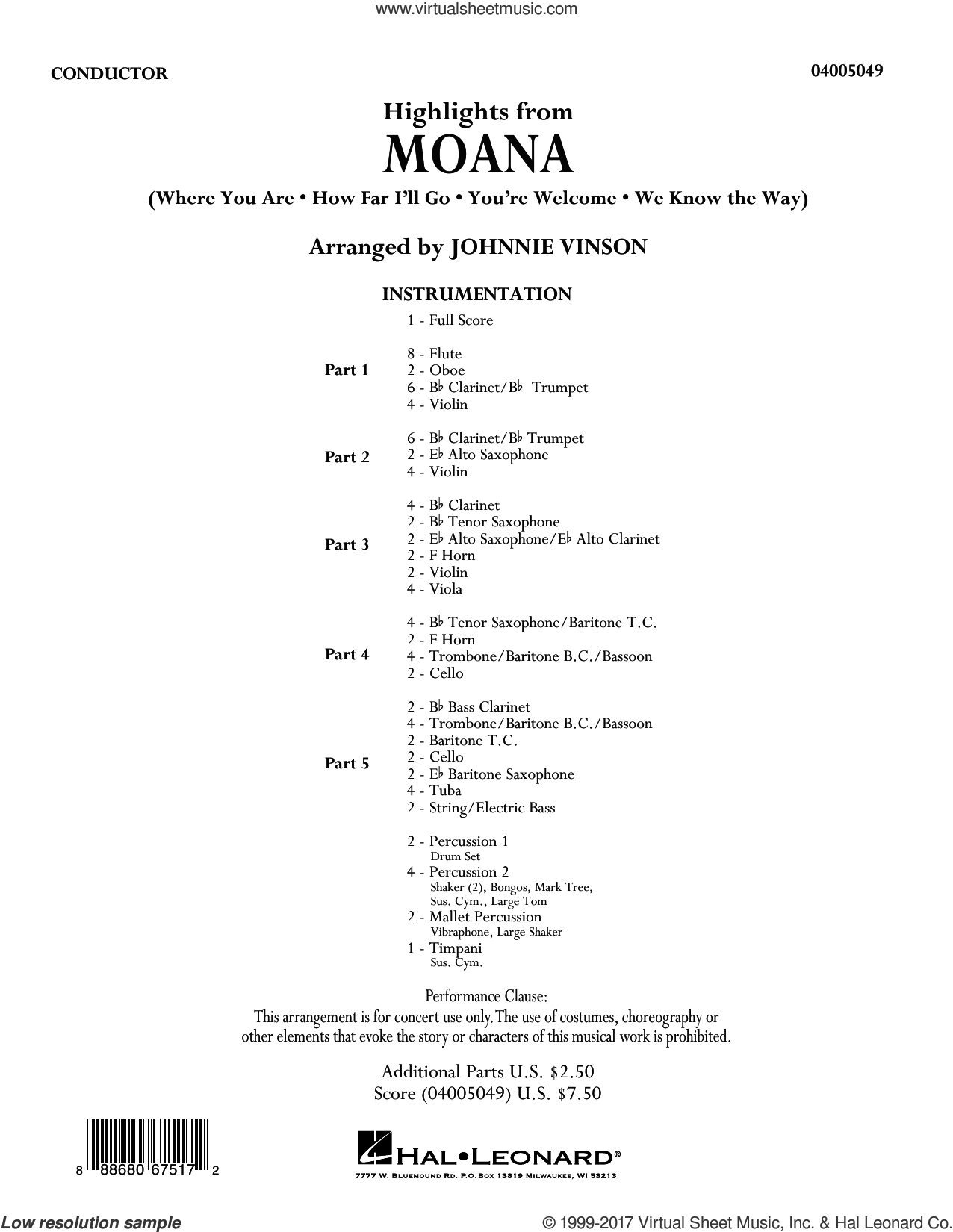 Highlights From Moana COMPLETE Sheet Music For Concert Band By Johnnie Vinson Intermediate