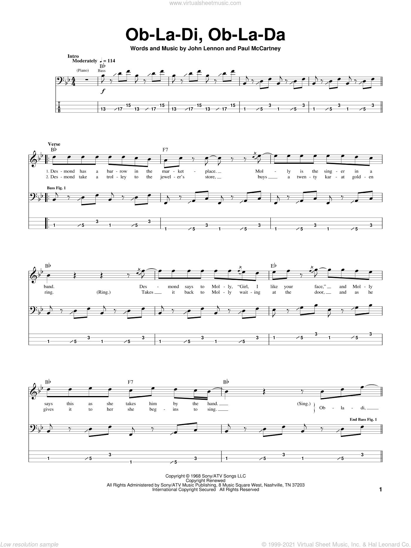 Beatles Ob La Di Ob La Da Sheet Music For Bass Tablature Bass