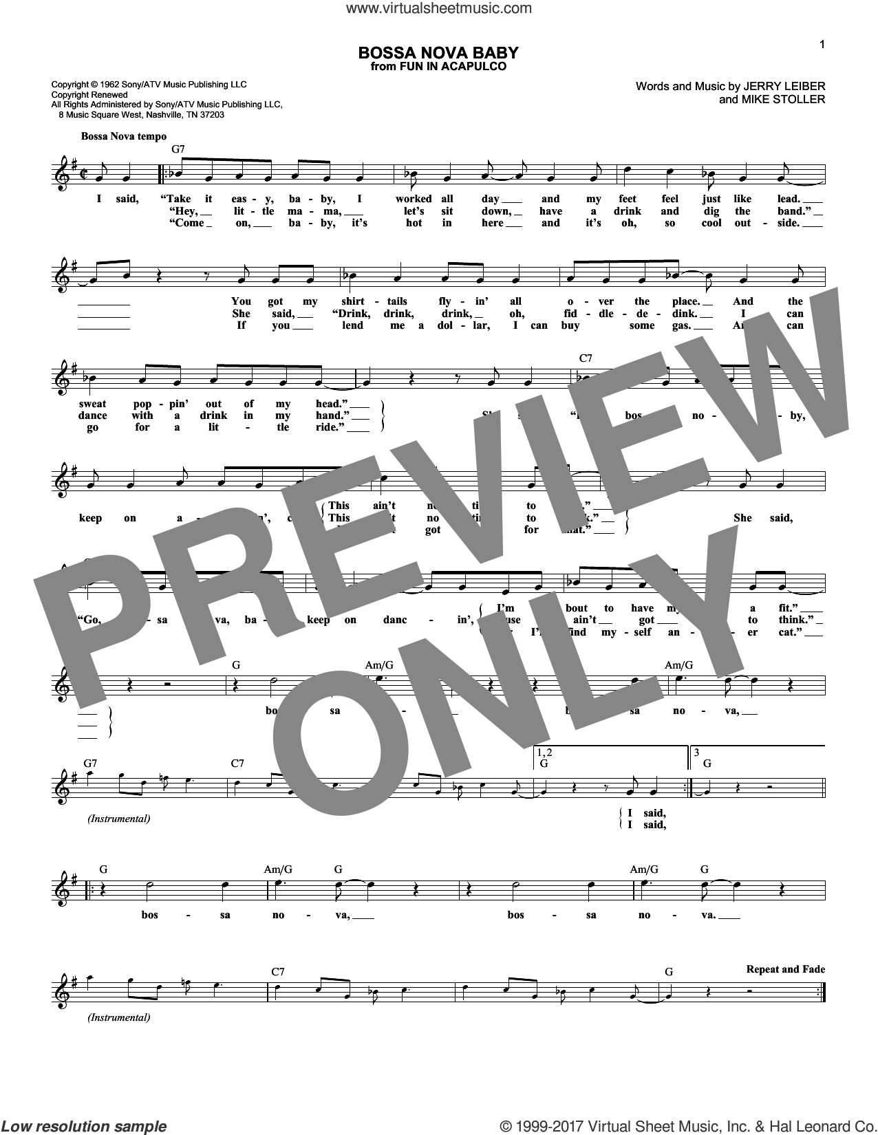Bossa Nova Baby sheet music for voice and other instruments (fake book) by Elvis Presley, Jerry Leiber and Mike Stoller, intermediate skill level