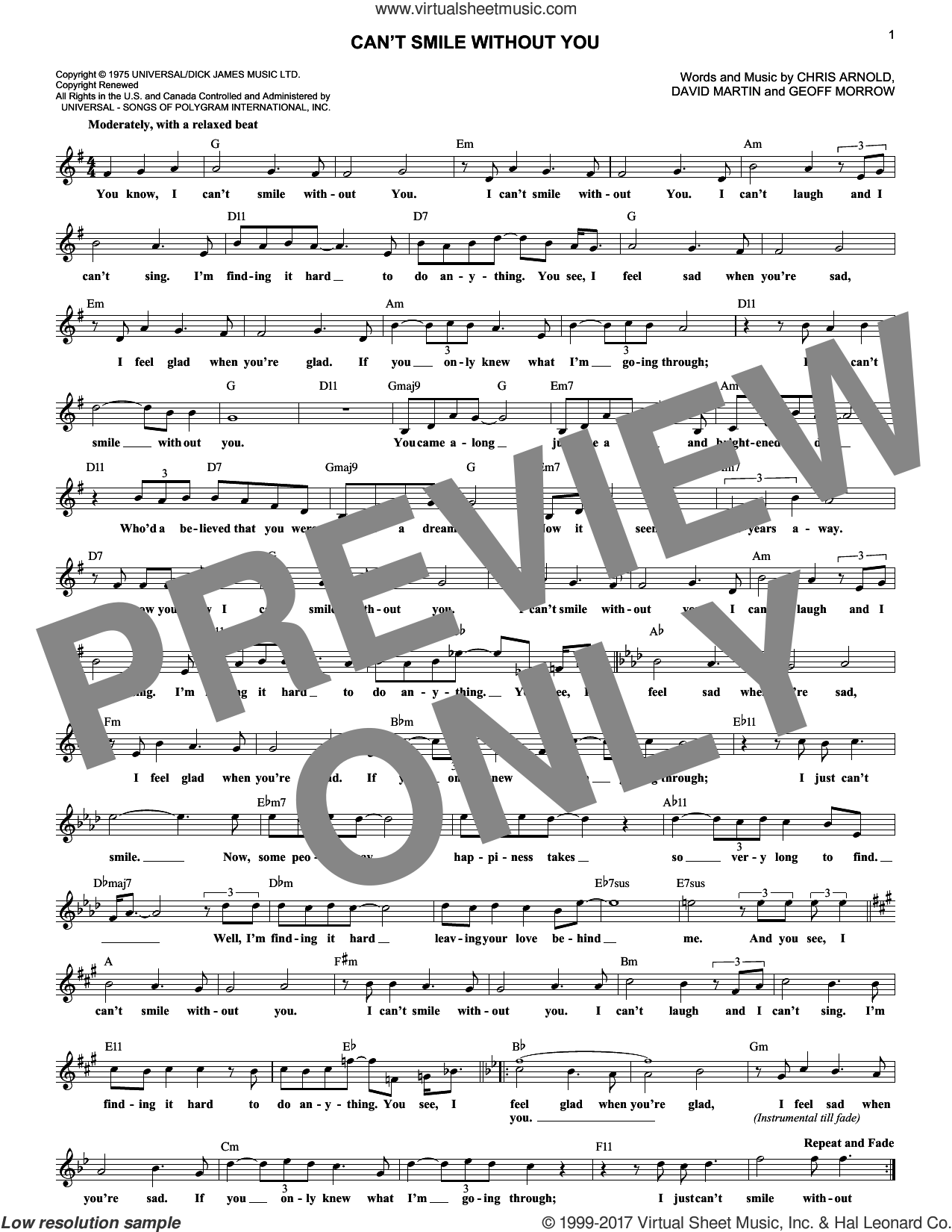 Can't Smile Without You sheet music for voice and other instruments (fake book) by Barry Manilow, Chris Arnold, David Martin and Geoff Morrow, wedding score, intermediate skill level