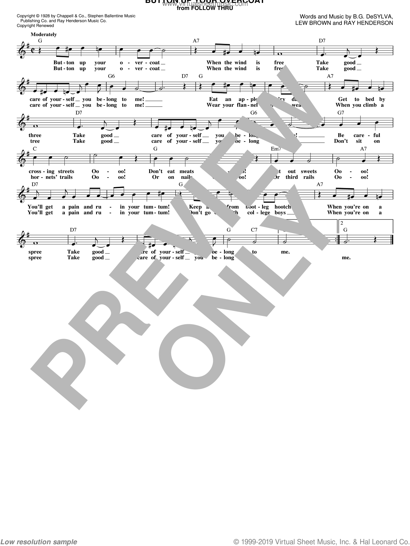 Button Up Your Overcoat sheet music for voice and other instruments (fake book) by Ray Henderson, Buddy DeSylva and Lew Brown, intermediate voice. Score Image Preview.